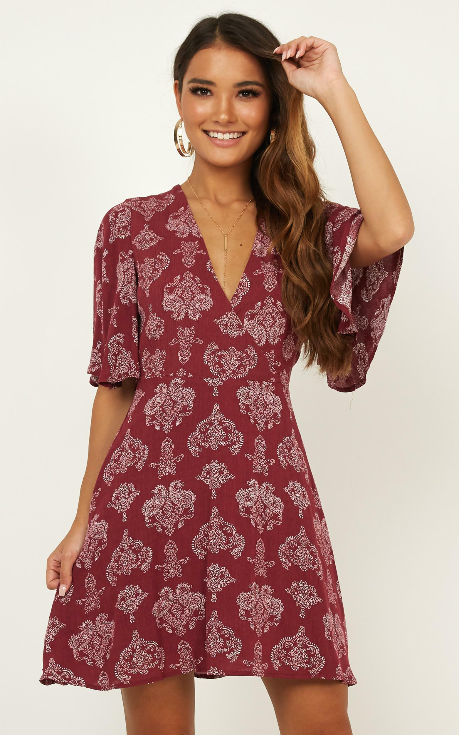 Beginners Luck dress in wine paisley print - 20 (XXXXL), Wine, hi-res image number null
