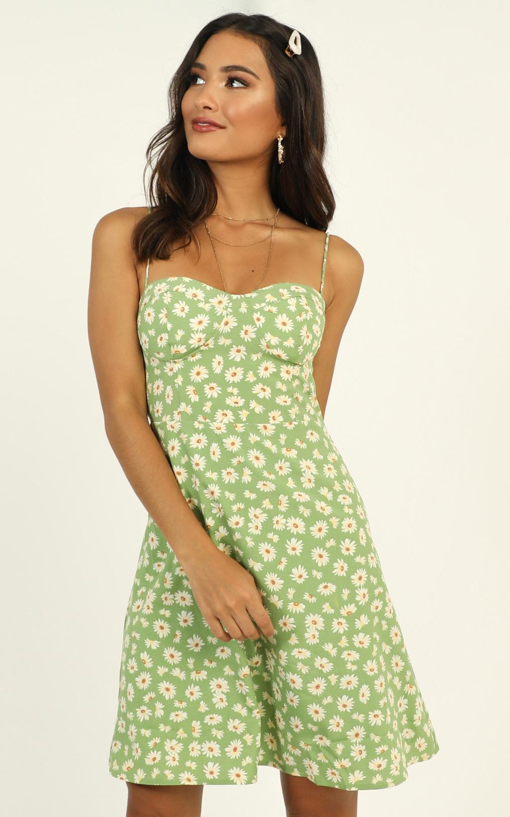 Naturally Sweet dress in green floral - 14 (XL), Green, hi-res image number null