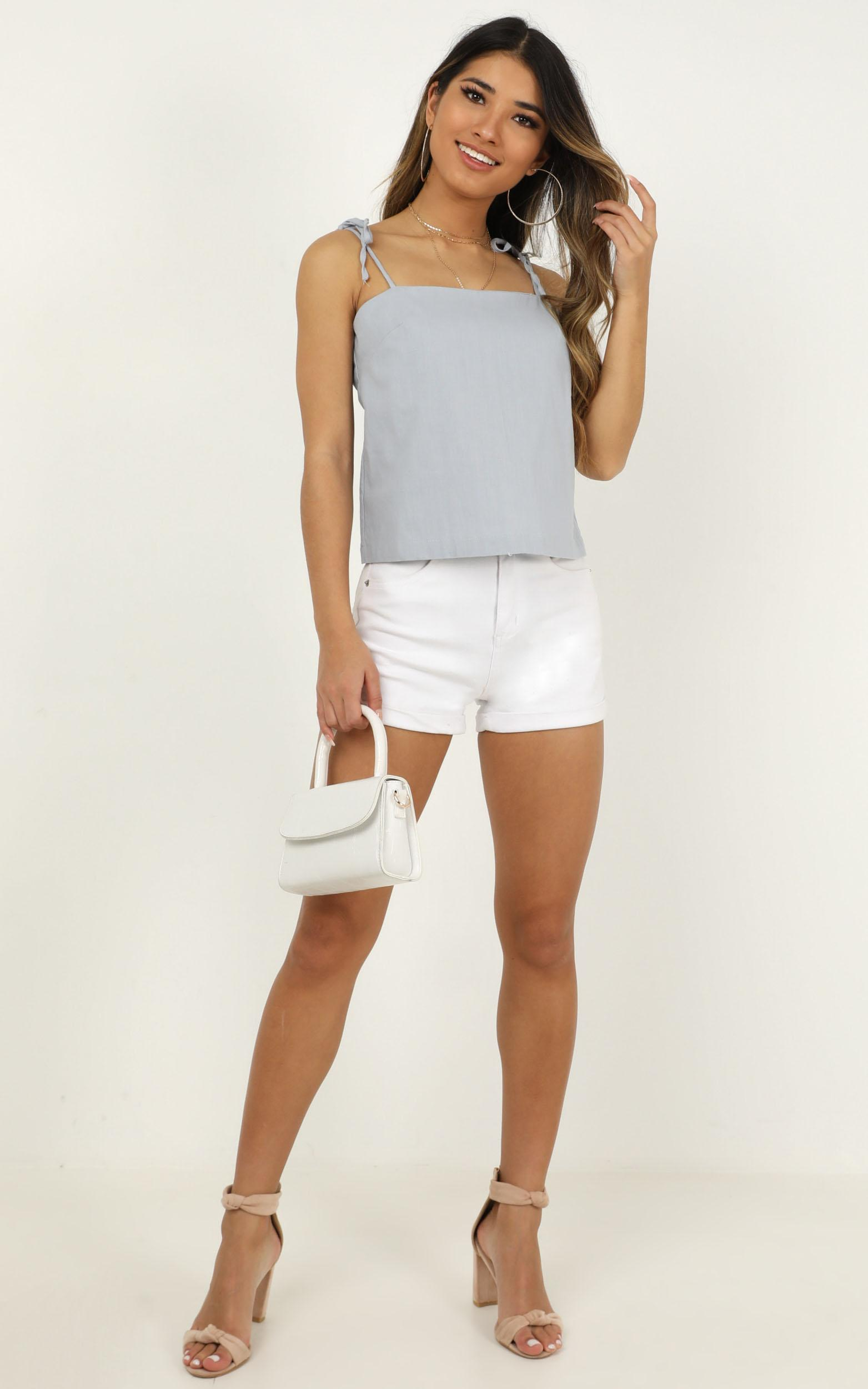 Nothing On Us Top in powder blue linen look - 18 (XXXL), Blue, hi-res image number null