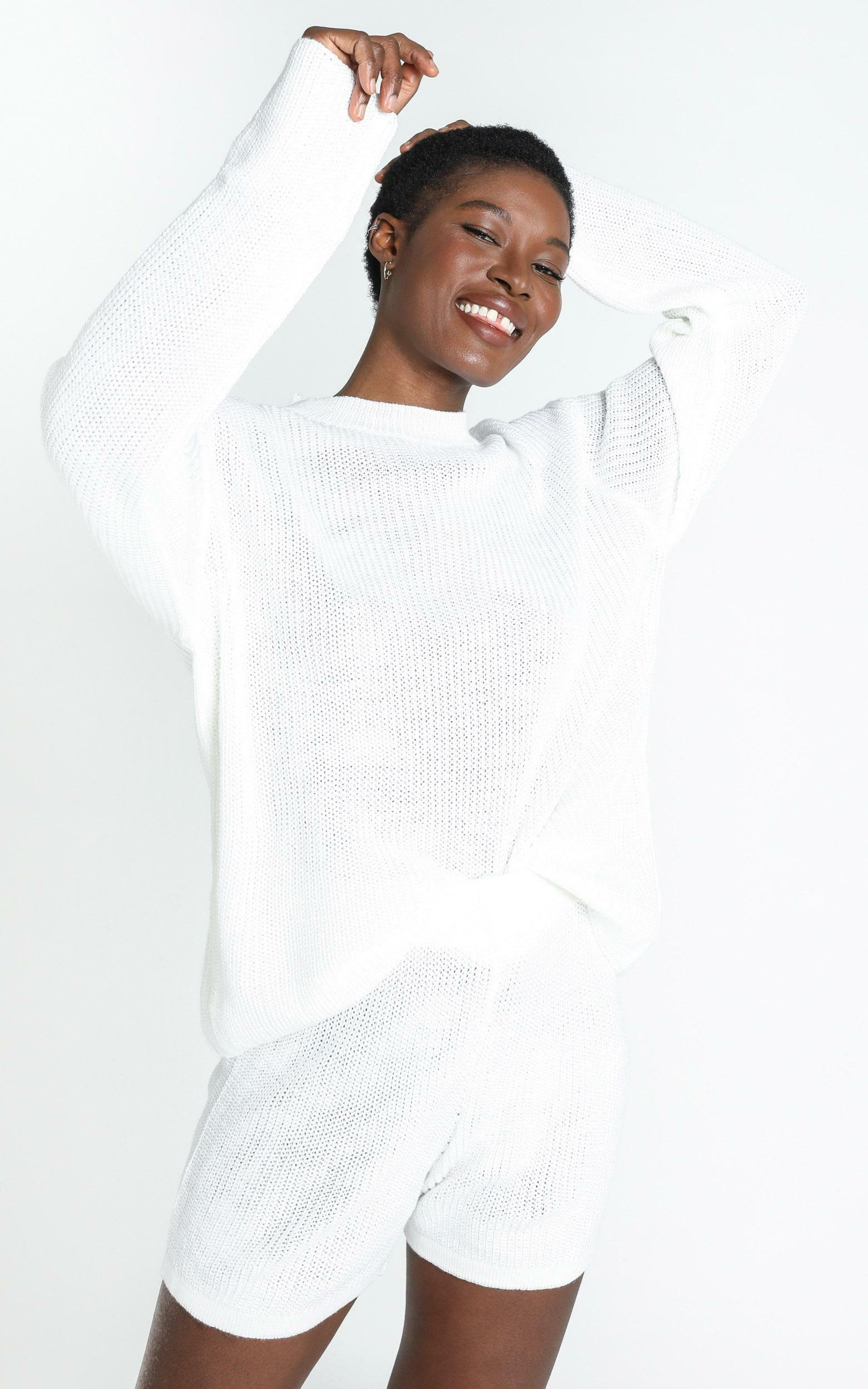 Jacquelyn Knit Jumper in White - S, White, hi-res image number null