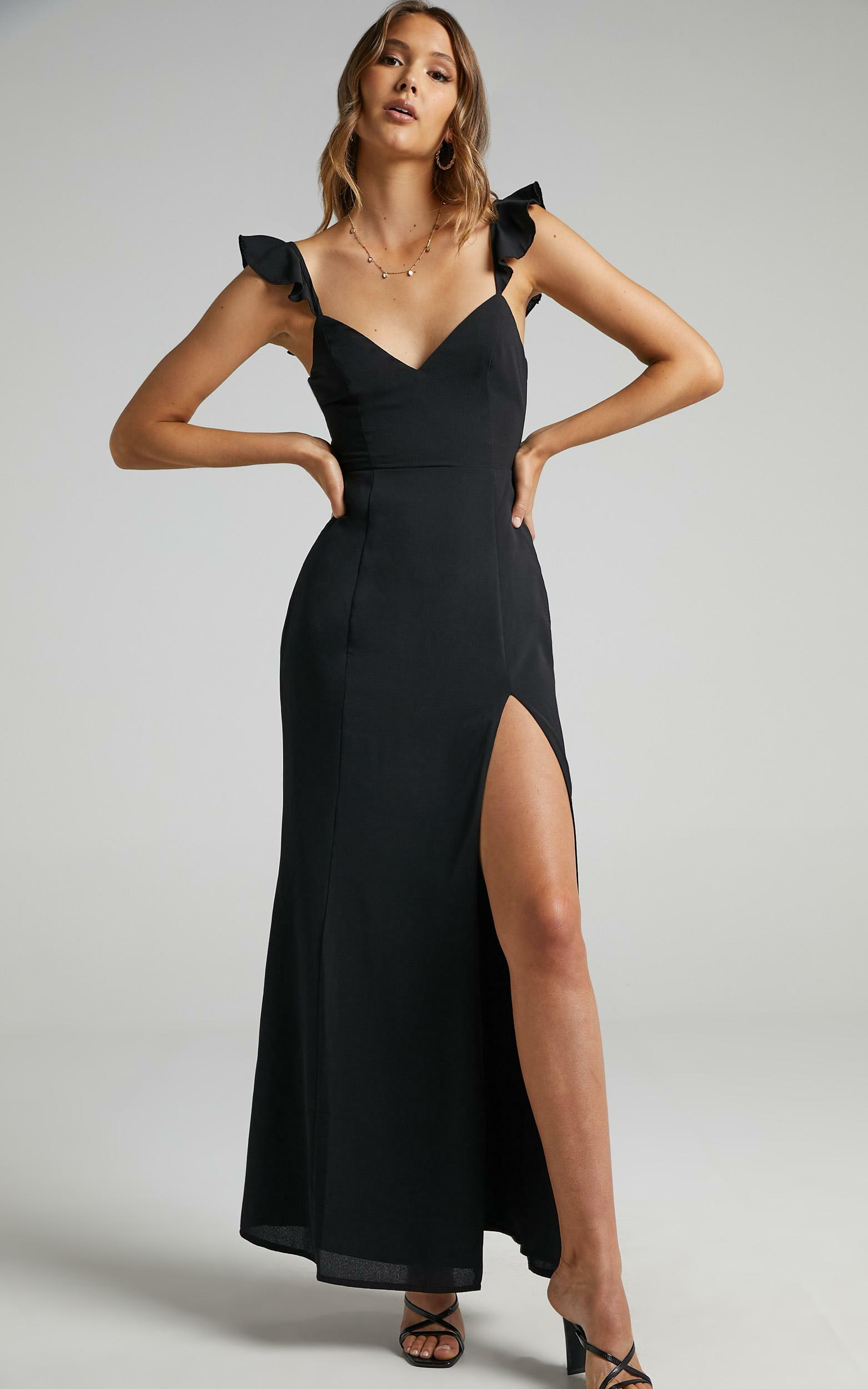 More Than This Ruffle Strap Maxi Dress in Black - 04, BLK1, hi-res image number null