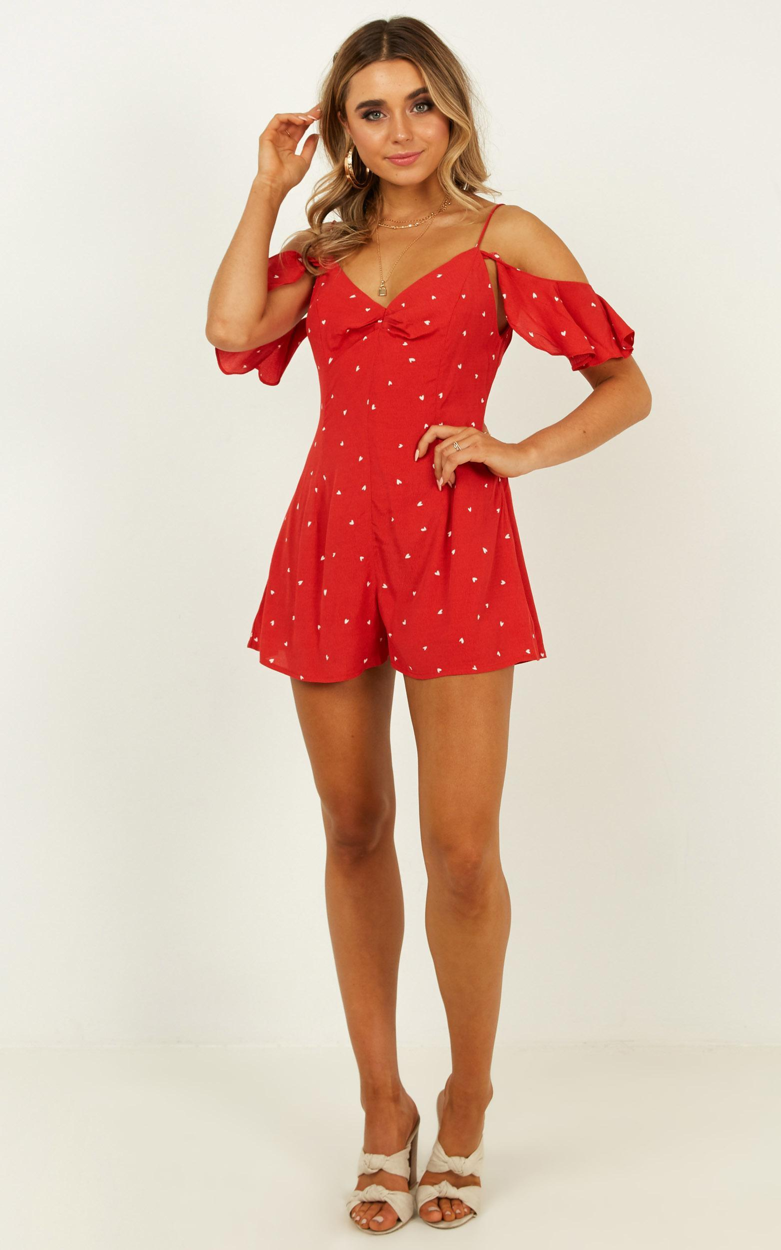 Whos To Know playsuit in red print - 12 (L), Red, hi-res image number null