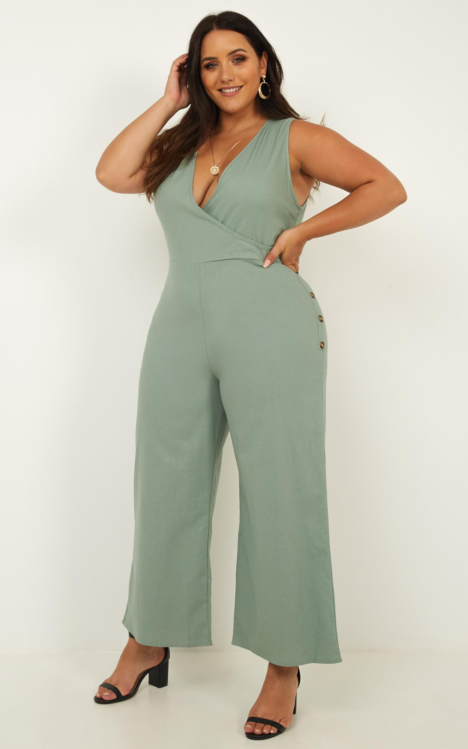 Clear as Crystal Jumpsuit in sage linen look - 20 (XXXXL), Sage, hi-res image number null