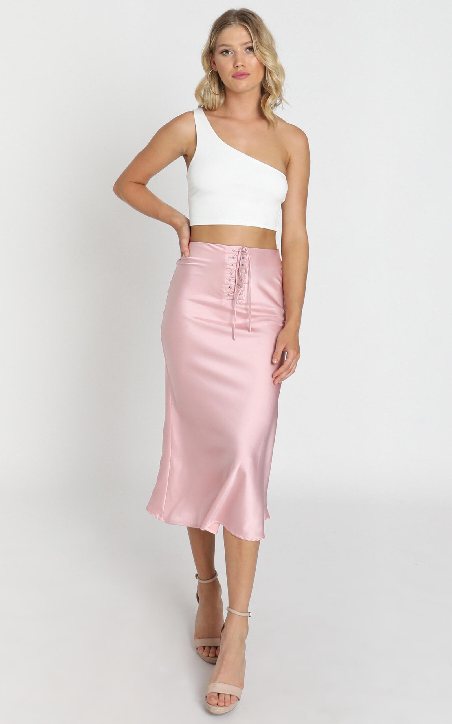 A0094S Winona Skirt in dusty rose satin - 8 (S), Pink, hi-res image number null