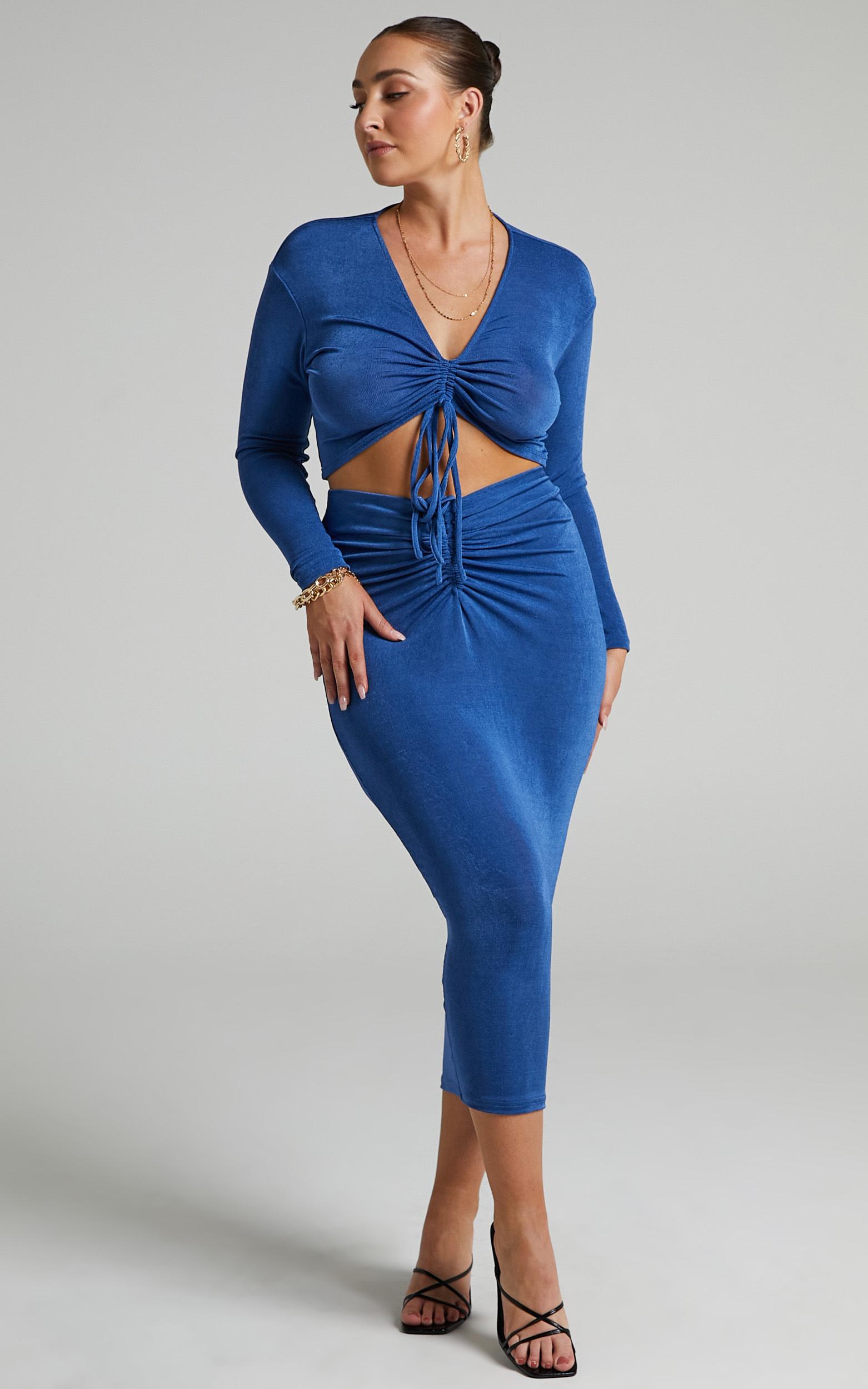 Luciana Rouched V Waist Skirt in Cobalt - 06, BLU1, hi-res image number null