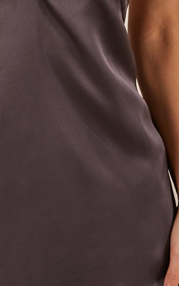 Mean so much dress in charcoal satin - 8 (S), Charcoal, hi-res image number null