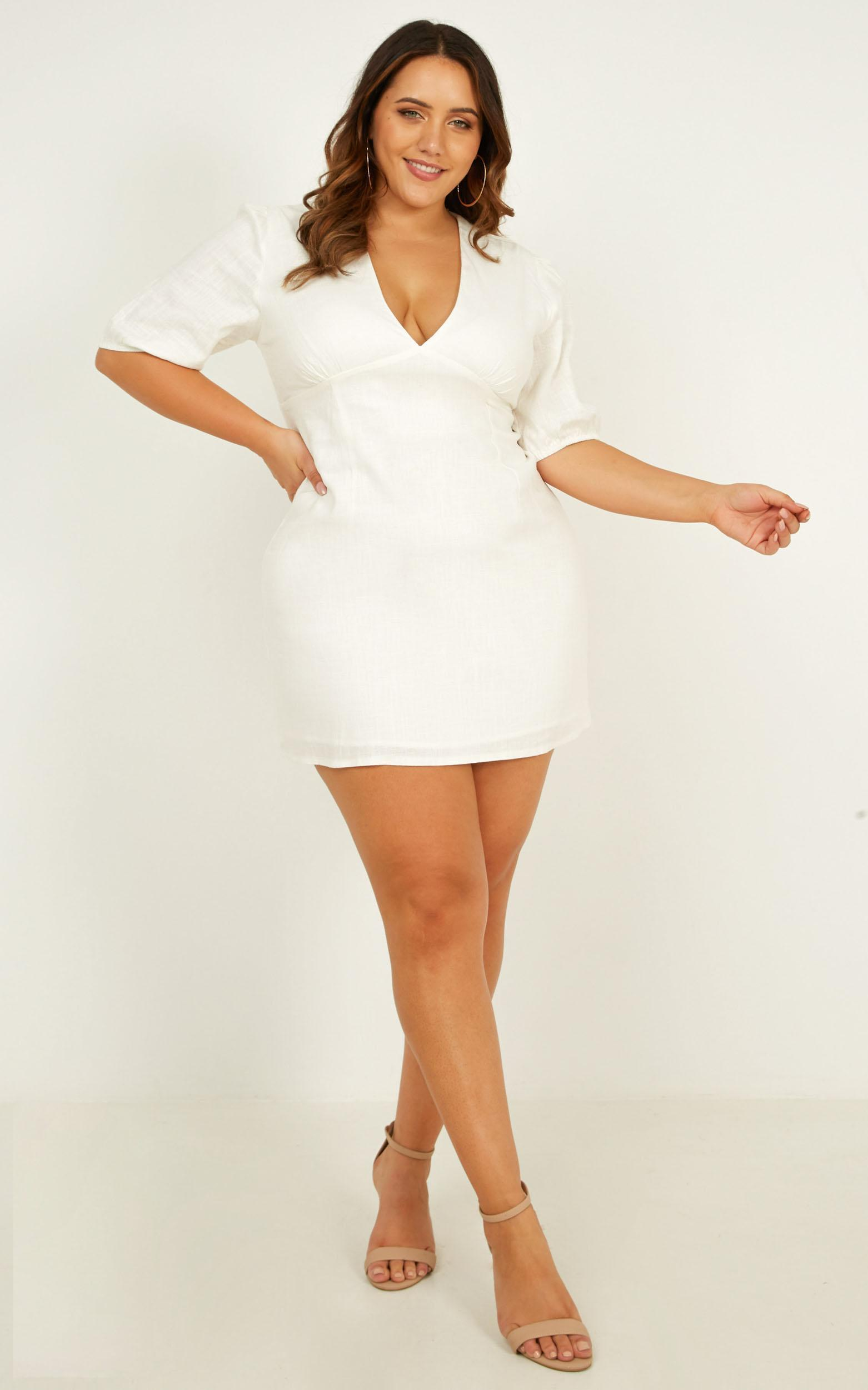 Endless Power Dress In white linen look - 14 (XL), White, hi-res image number null