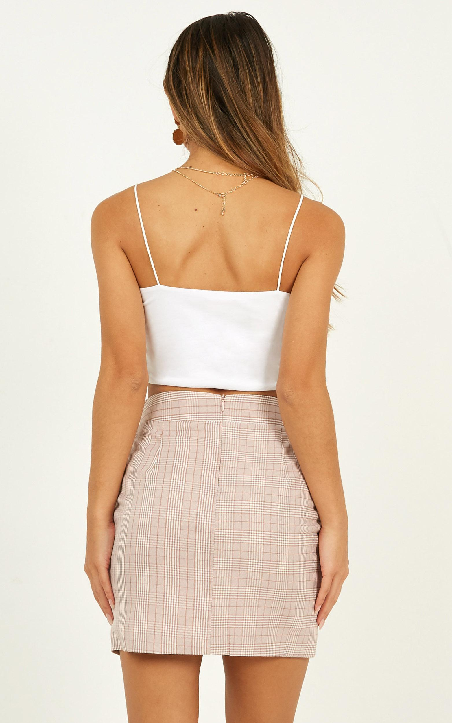 Cancelled Plans Skirt in blush check - 20 (XXXXL), Pink, hi-res image number null