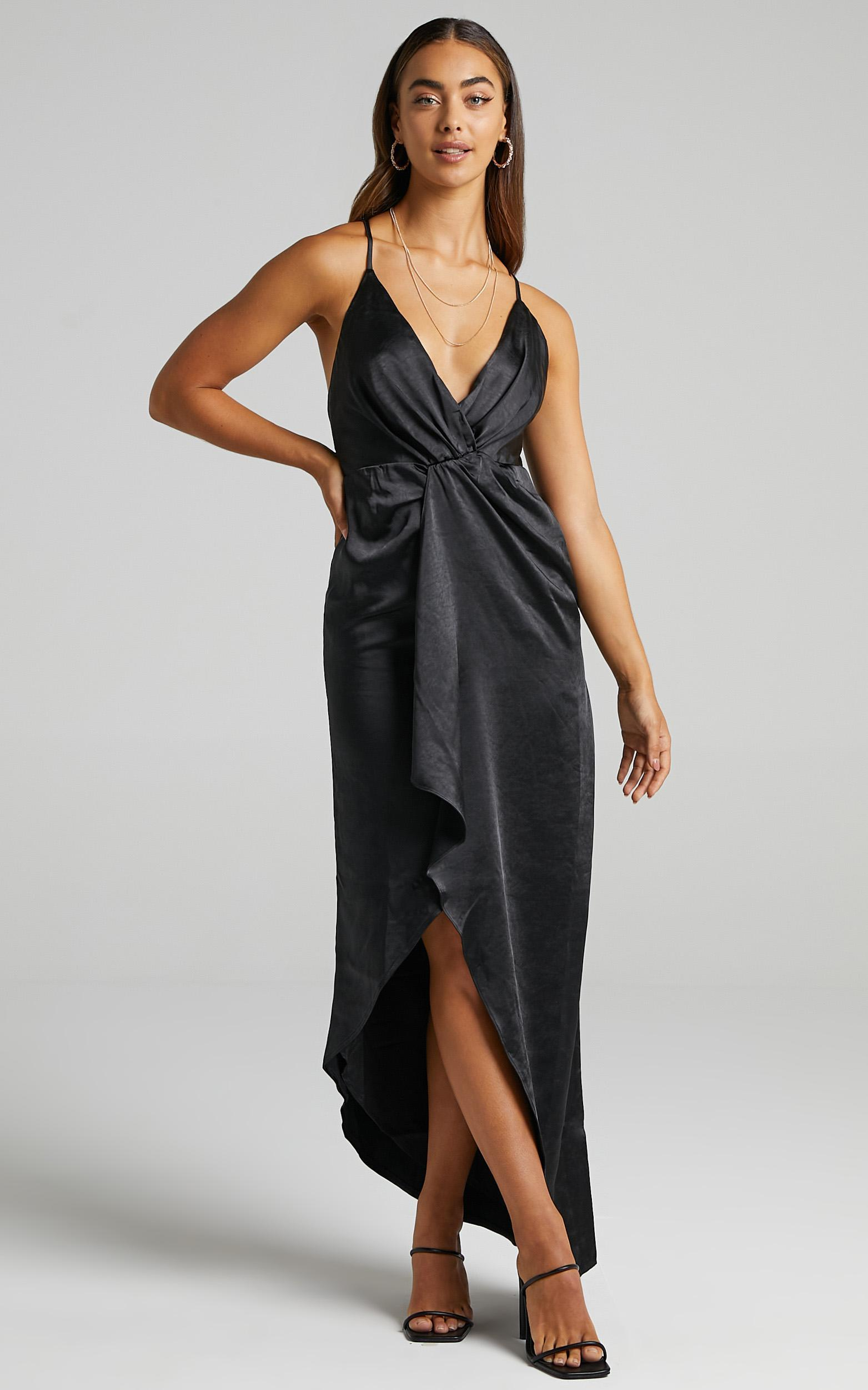Jayne Twist Front Maxi Dress in Black Satin - 6 (XS), Black, hi-res image number null