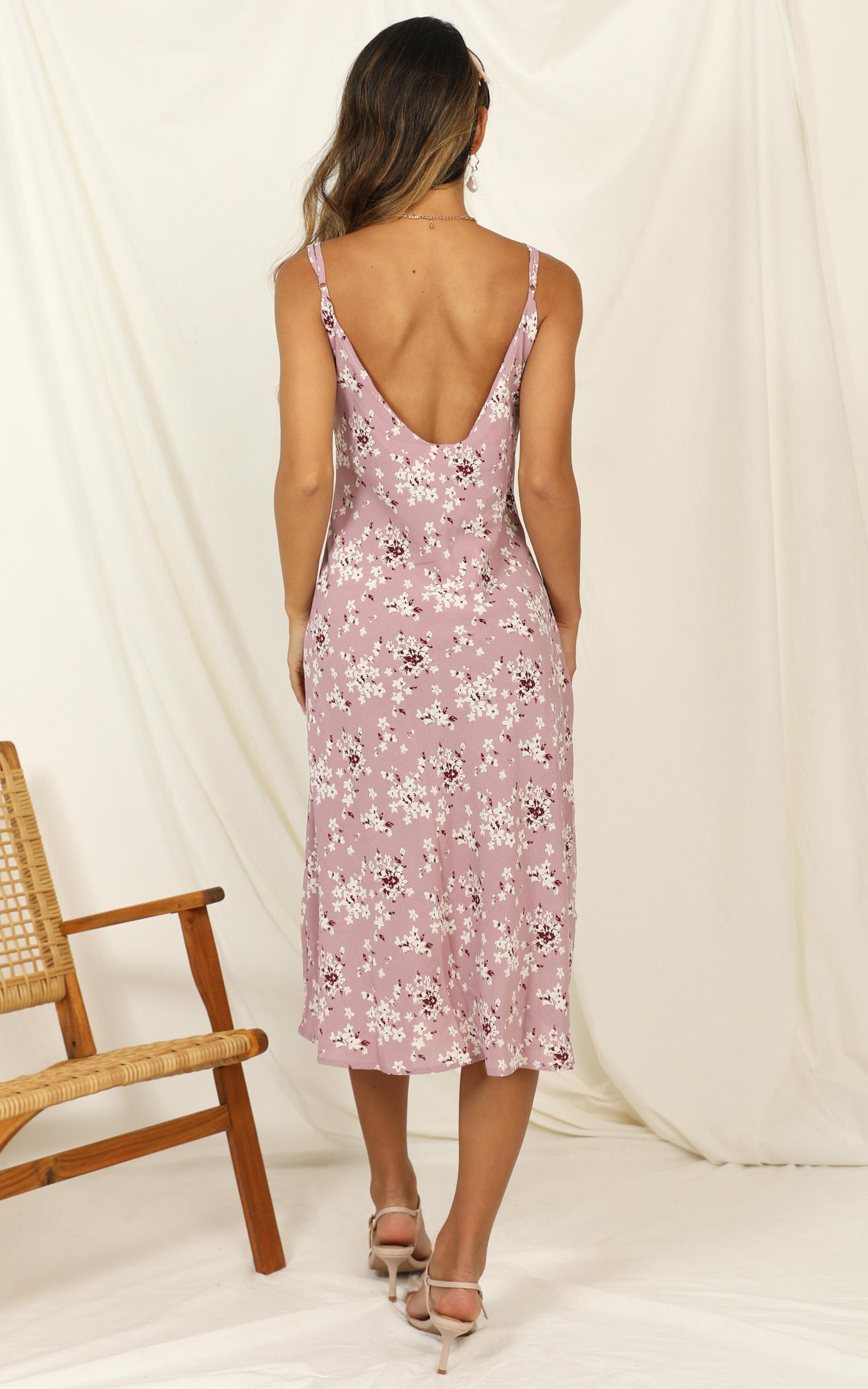 Toss The Dice dress in lilac floral - 14 (XL), Purple, hi-res image number null
