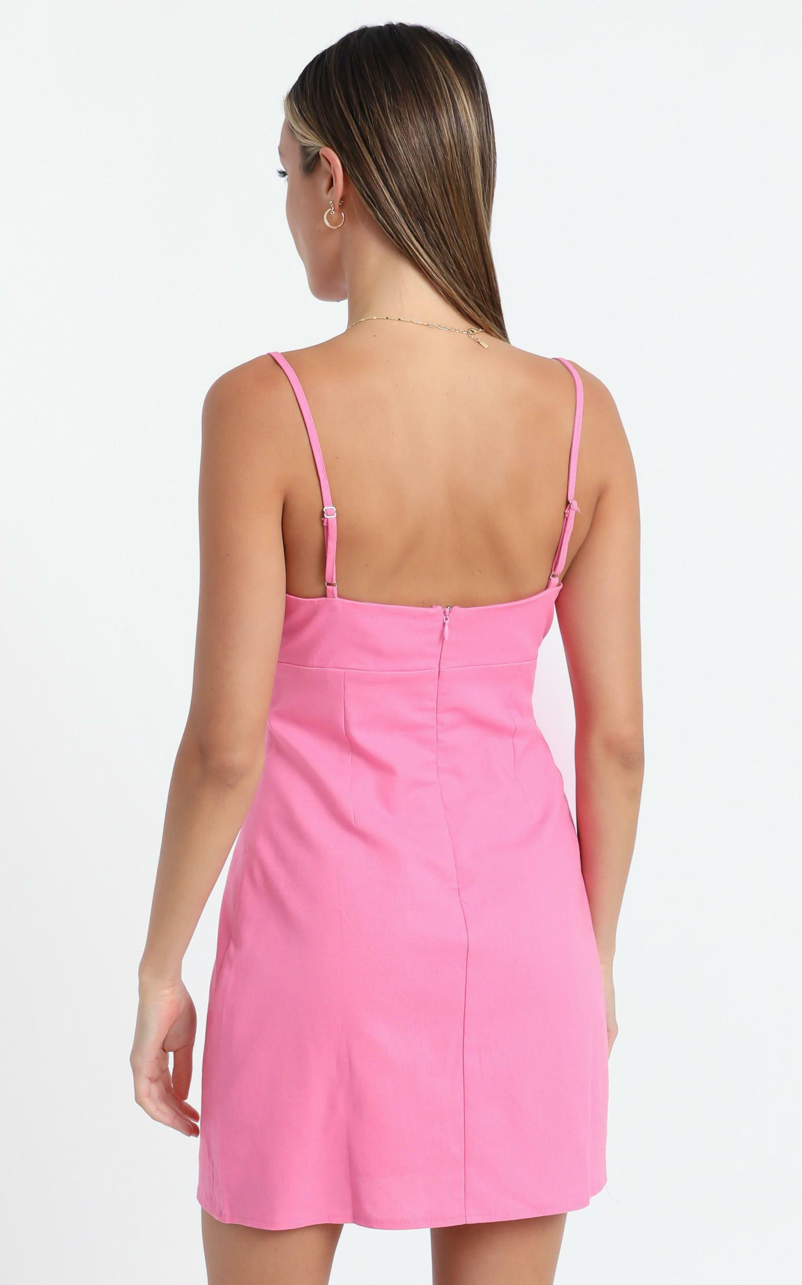 Break Free With Me Dress in Pink Linen Look - 4 (XXS), Pink, hi-res image number null