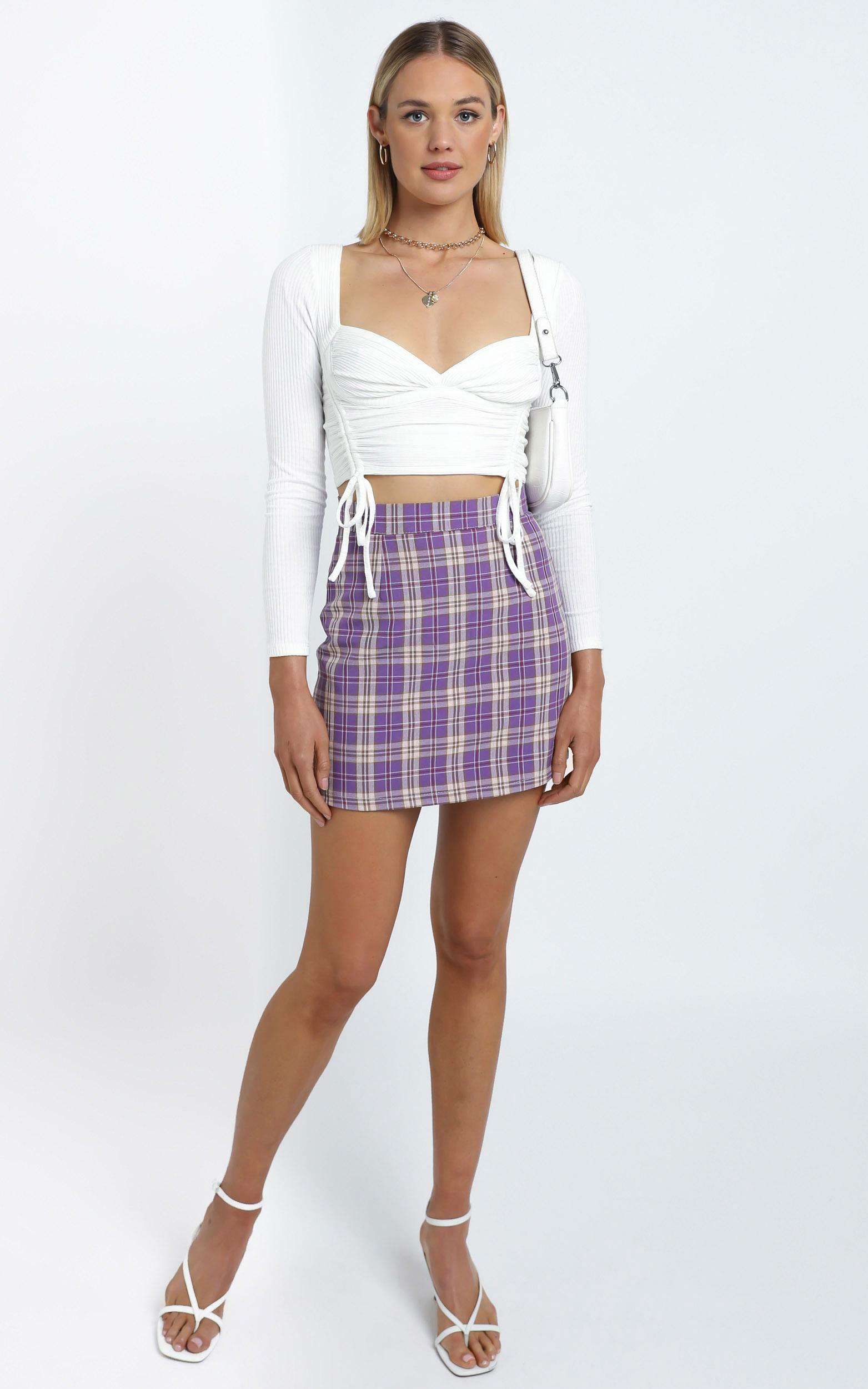 Emerson Skirt in Lilac Check - 12 (L), Purple, hi-res image number null