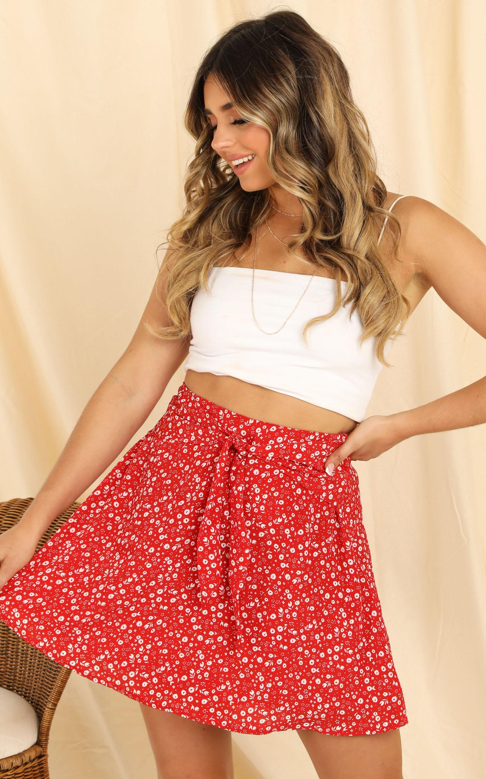 Youre The Best Skirt in red floral - 20 (XXXXL), Red, hi-res image number null