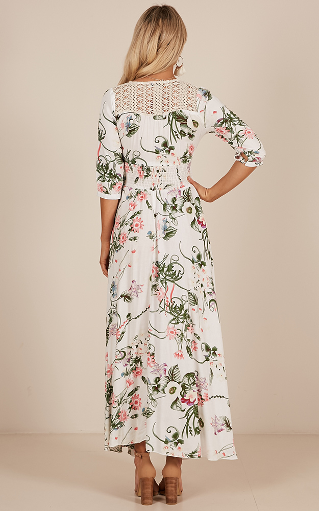 Lone Traveller maxi dress in white floral - 6 (XS), Green, hi-res image number null