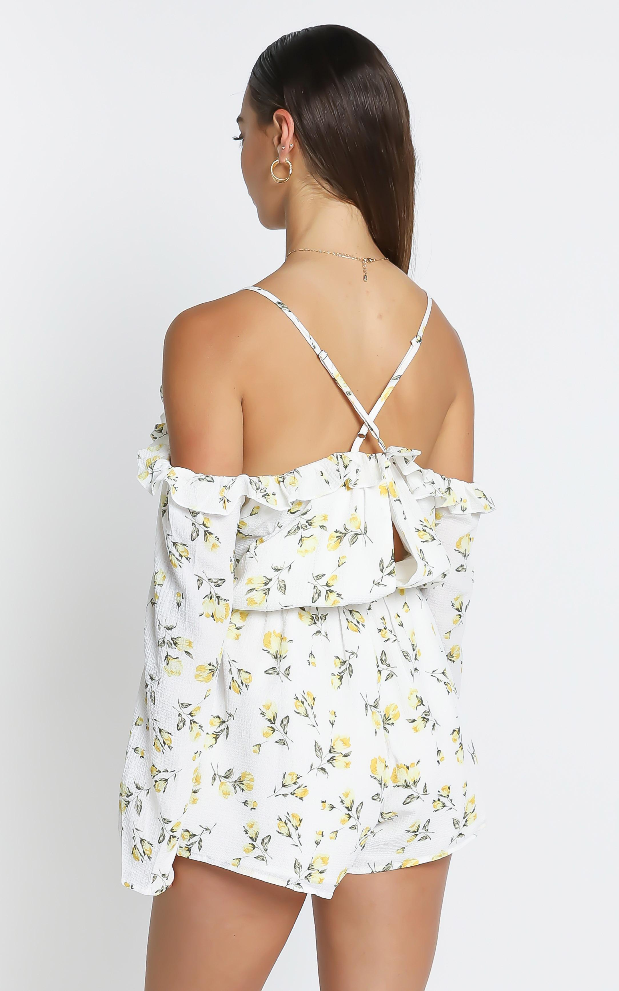 Lemonade Playsuit in White Floral - 6 (XS), White, hi-res image number null