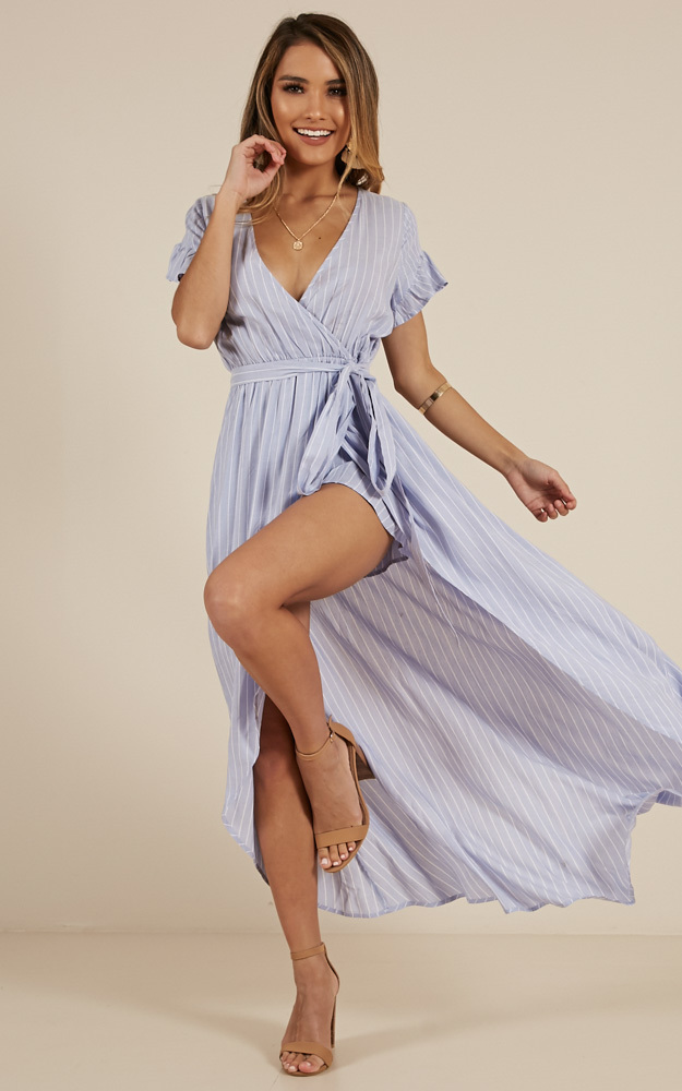 Look Away maxi playsuit in blue stripe - 14 (XL), Blue, hi-res image number null
