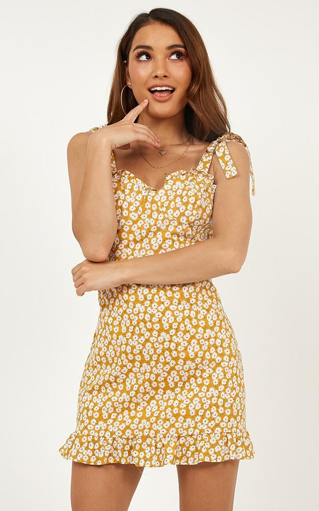 Wishing Star Dress in mustard floral - 12 (L), Yellow, hi-res image number null
