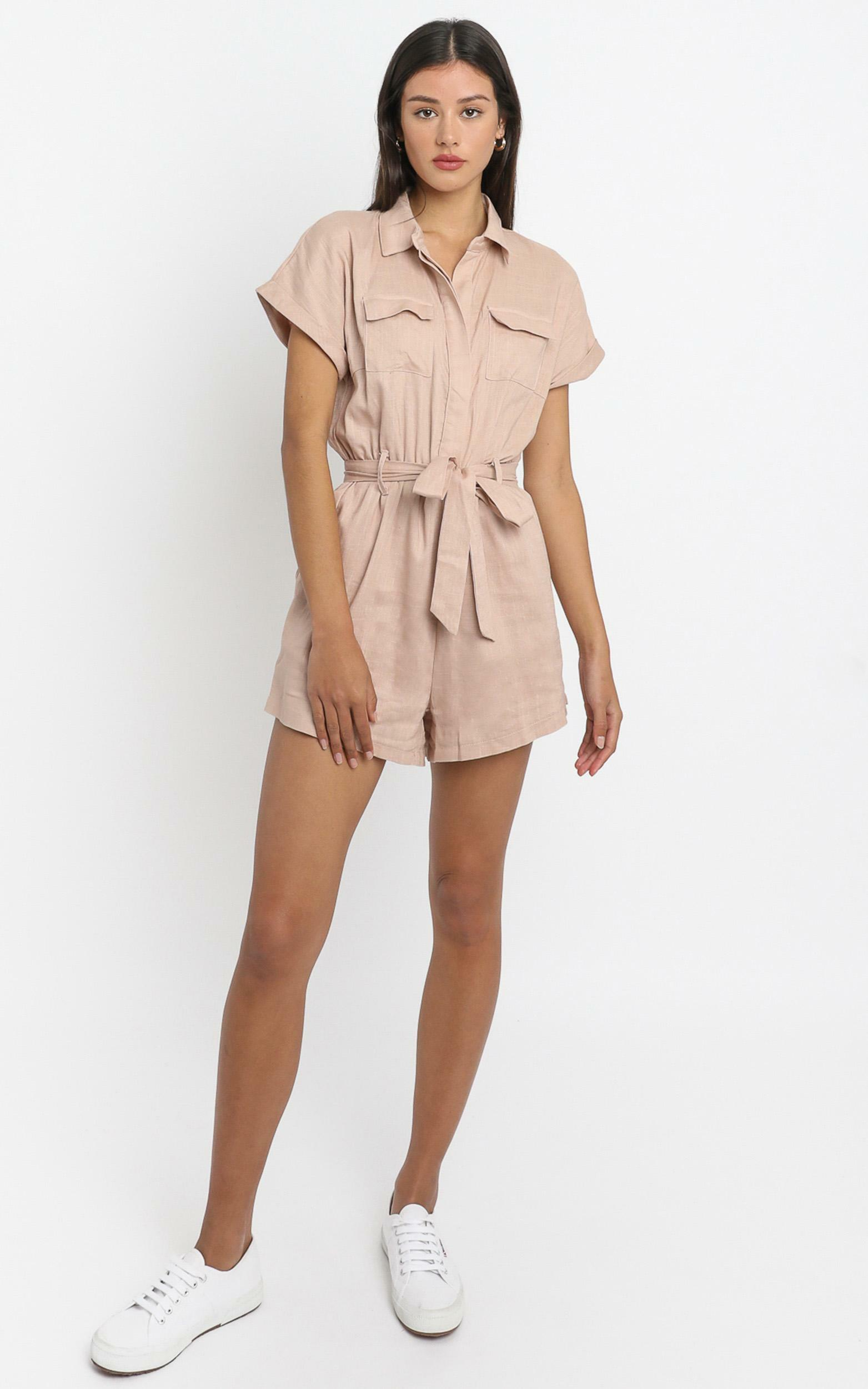 Zarina Belted Playsuit in Blush - 6 (XS), Blush, hi-res image number null
