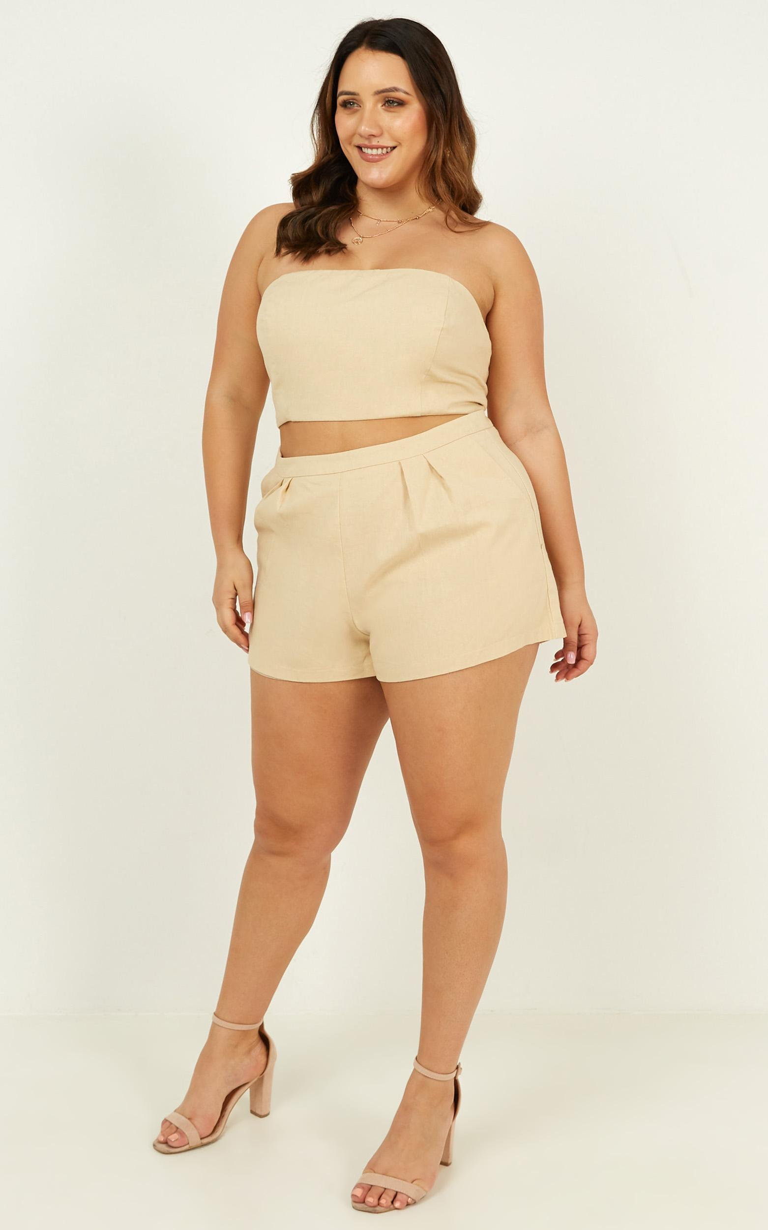 Did You Mean It Two Piece Set in stone linen look - 20 (XXXXL), Cream, hi-res image number null