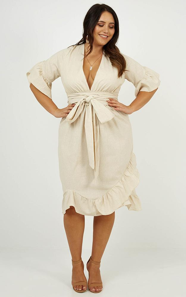 Ready to Receive Dress in Natural Linen Look - 12 (L), Beige, hi-res image number null