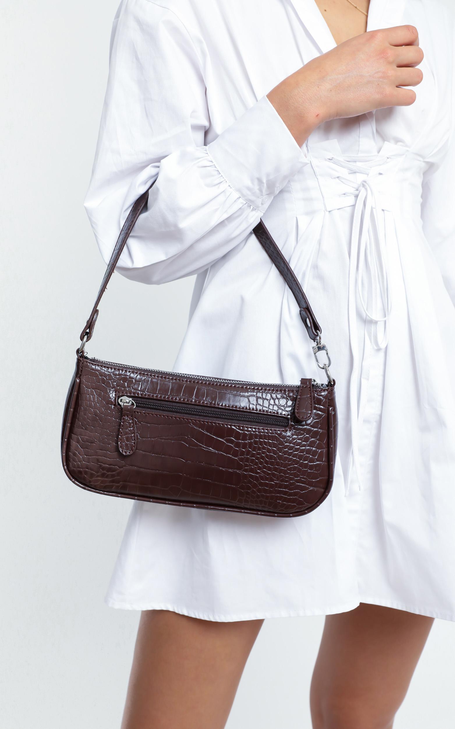 Save My Love Bag In Chocolate Croc, Brown, hi-res image number null