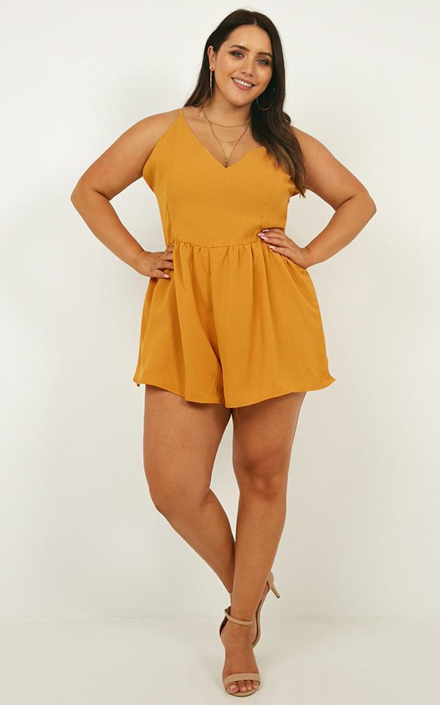 Born and Raised Playsuit in mango - 20 (XXXXL), Yellow, hi-res image number null