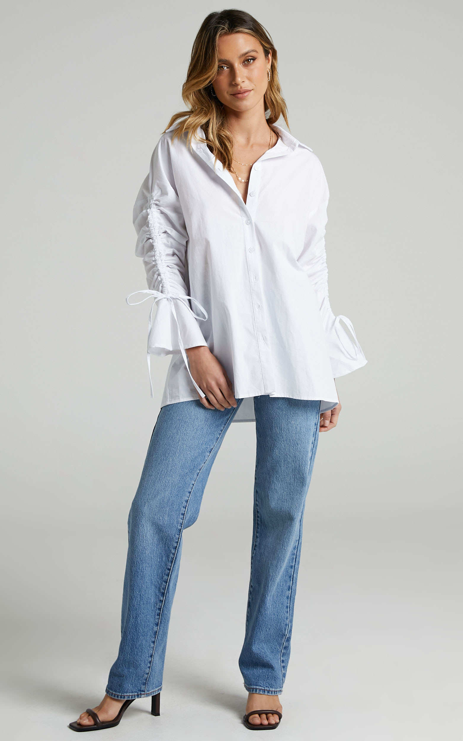 Melli Longsleeve Ruched Shirt in White - 04, WHT1, hi-res image number null