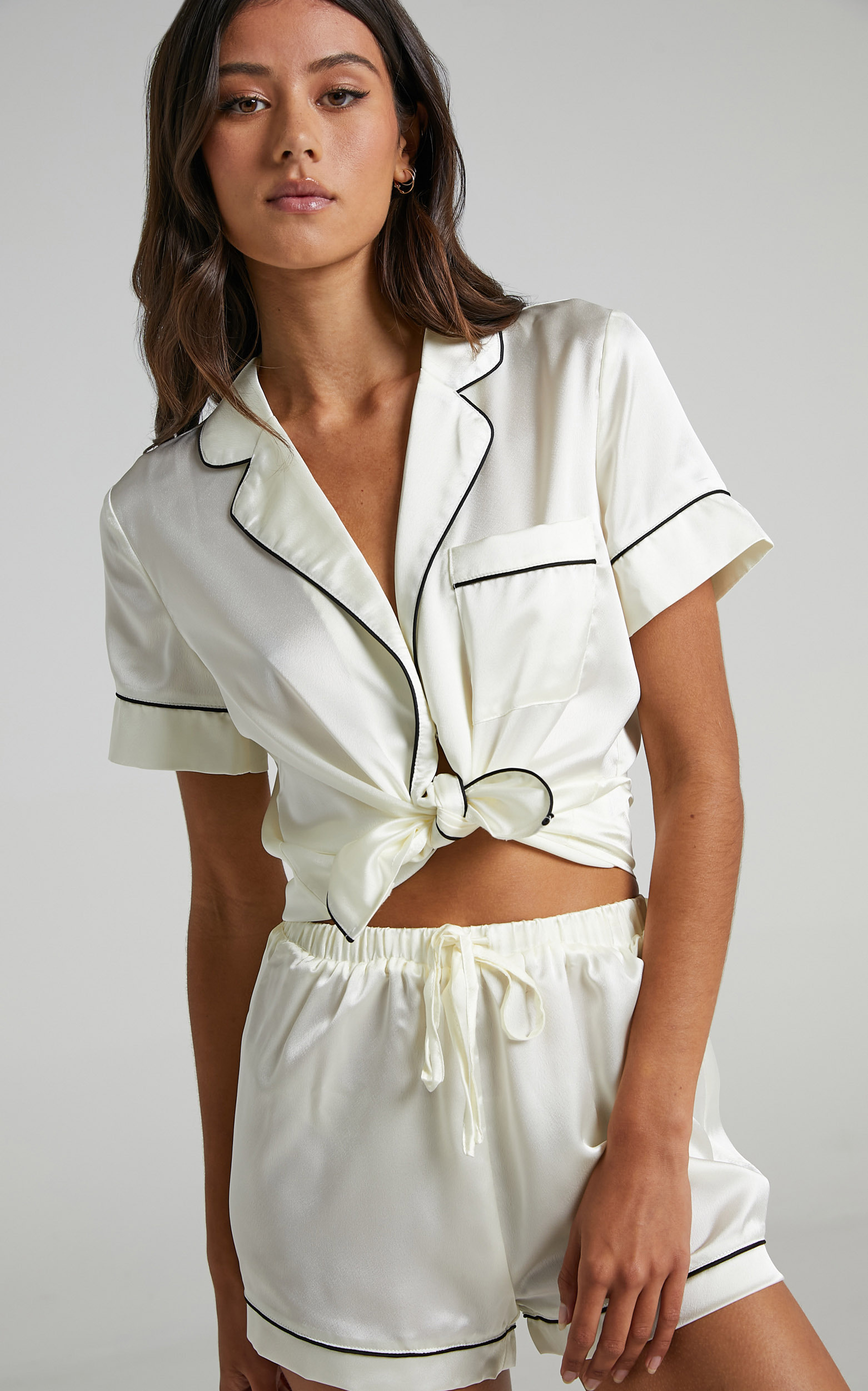 Sleep All Day Shorts in Ivory Satin - 06, WHT4, hi-res image number null