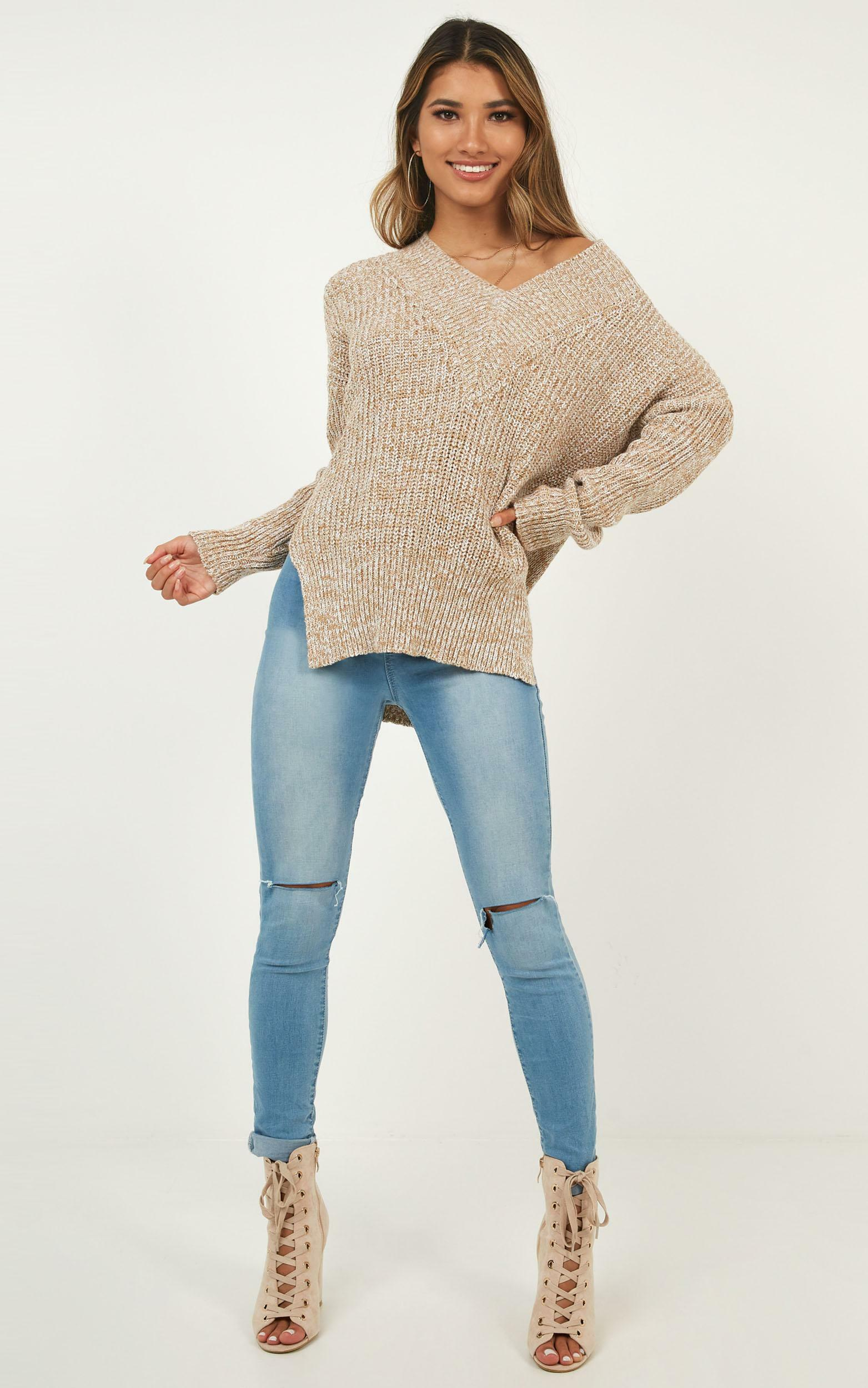 With Conviction knit in mocha marle - L/XL, Mocha, hi-res image number null