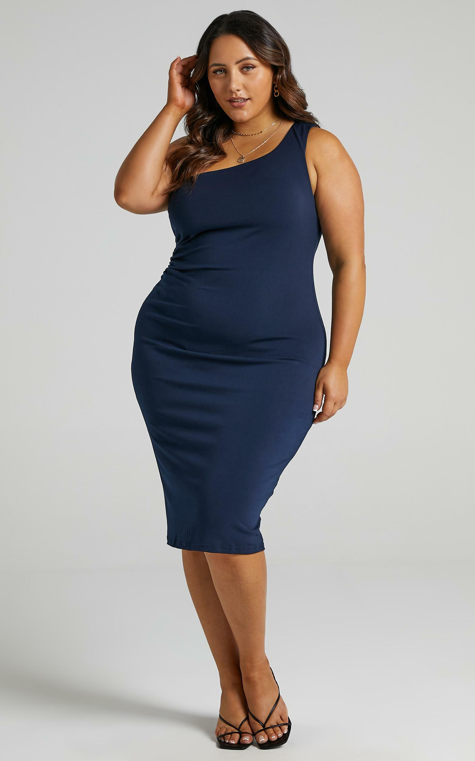 Got Me Looking One Shoulder Bodycon Midi Dress in Navy - 04, NVY5, hi-res image number null