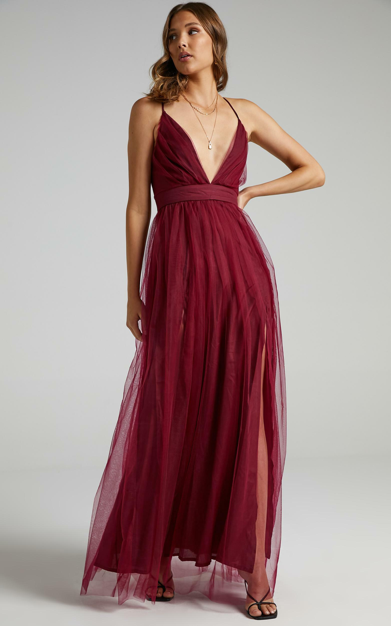 Tell Me Lies Dress in Wine Tulle - 06, WNE5, hi-res image number null