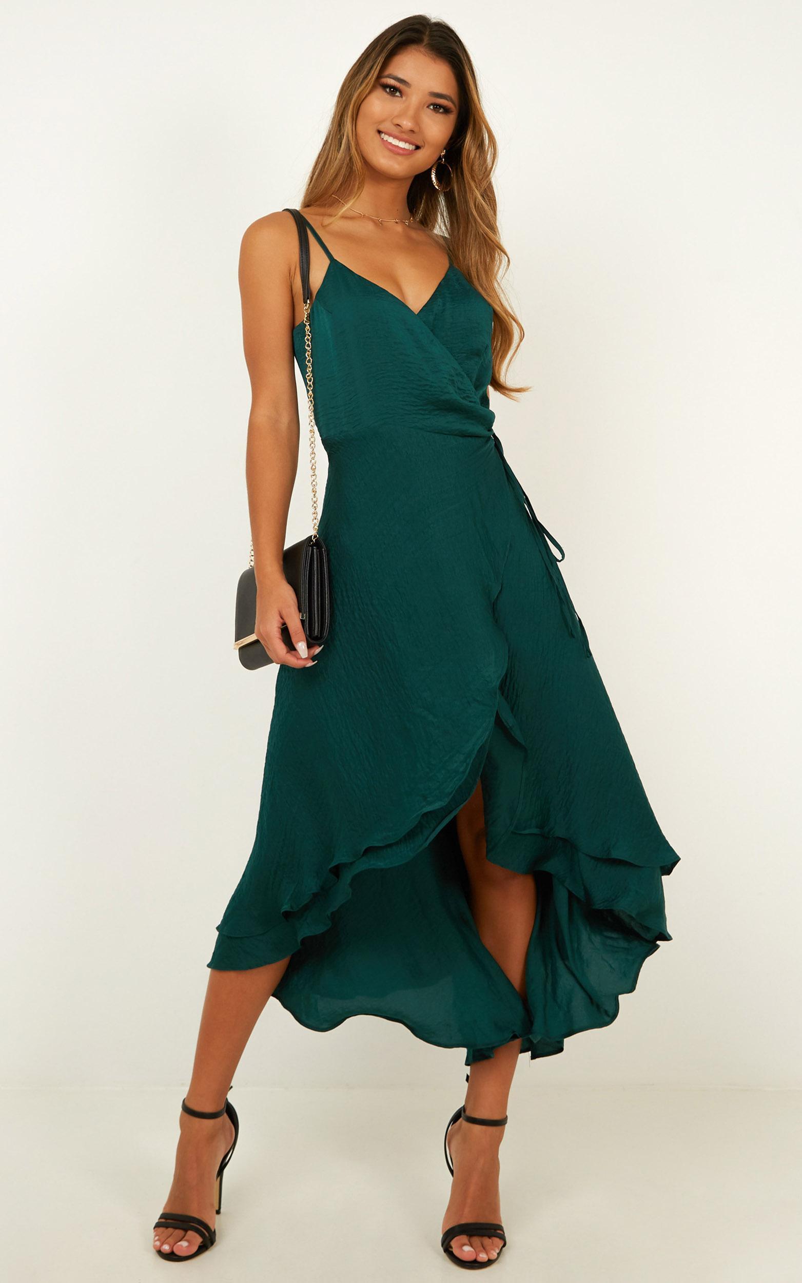 Between Fantasy Dress in emerald satin 4 (XXS), Green, hi-res image number null