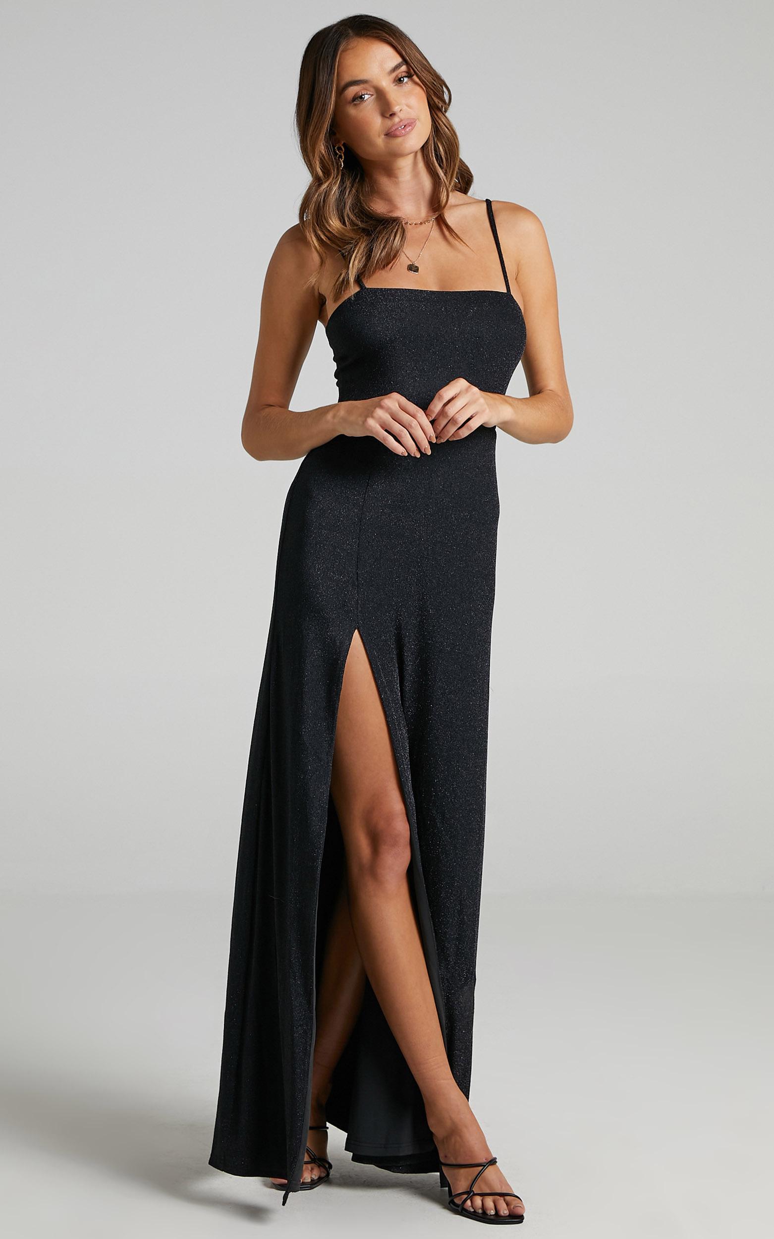 Rheannon Split Mesh Maxi Dress in Black Lurex - 06, BLK1, hi-res image number null