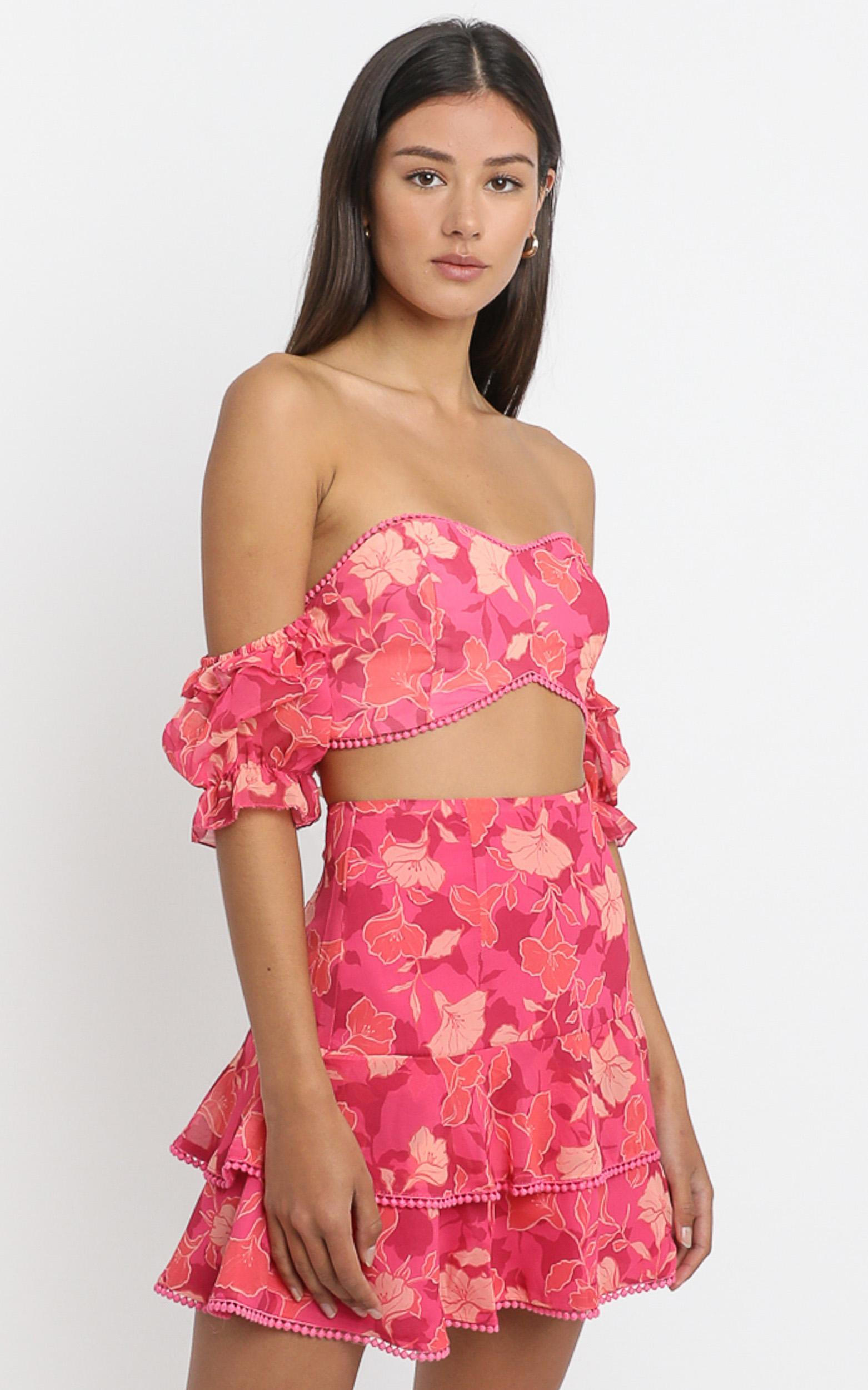 Final Resort two piece set in berry floral - 20 (XXXXL), Pink, hi-res image number null