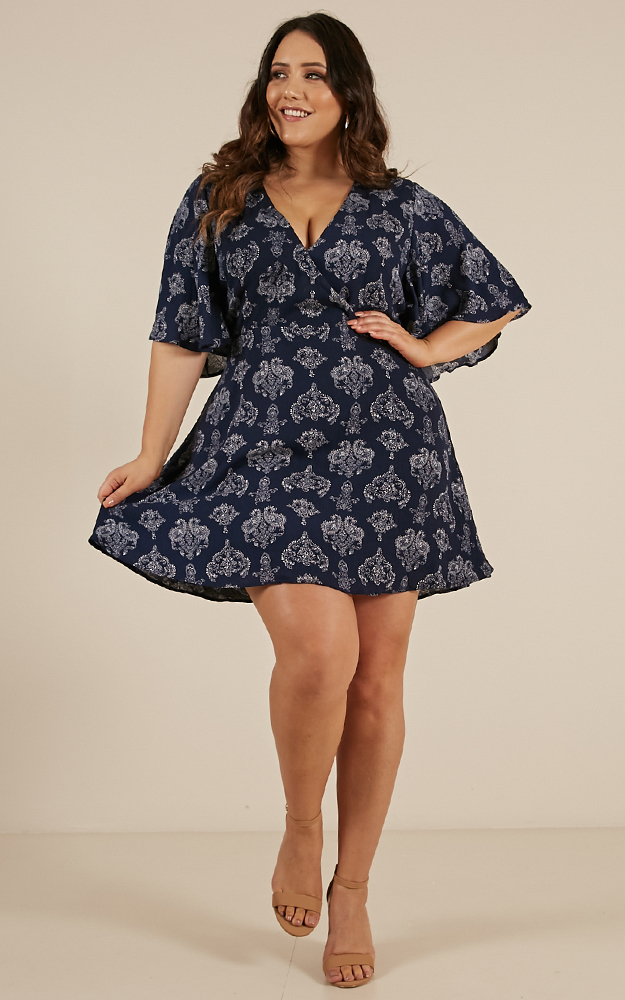 Beginners Luck dress in navy paisley print - 20 (XXXXL), Navy, hi-res image number null