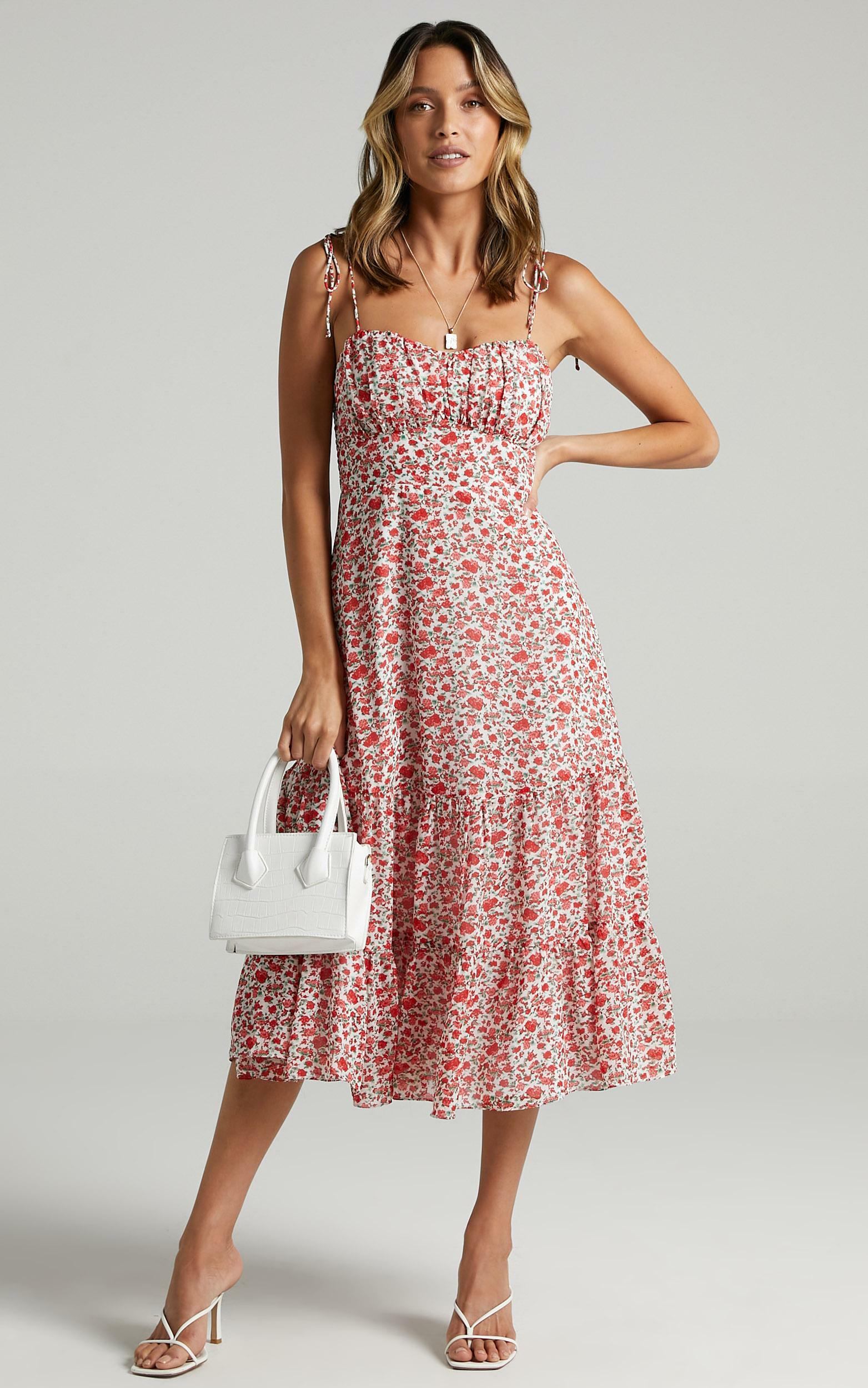 Monaco Sweetheart Midi Dress in White Floral - 20, WHT3, hi-res image number null