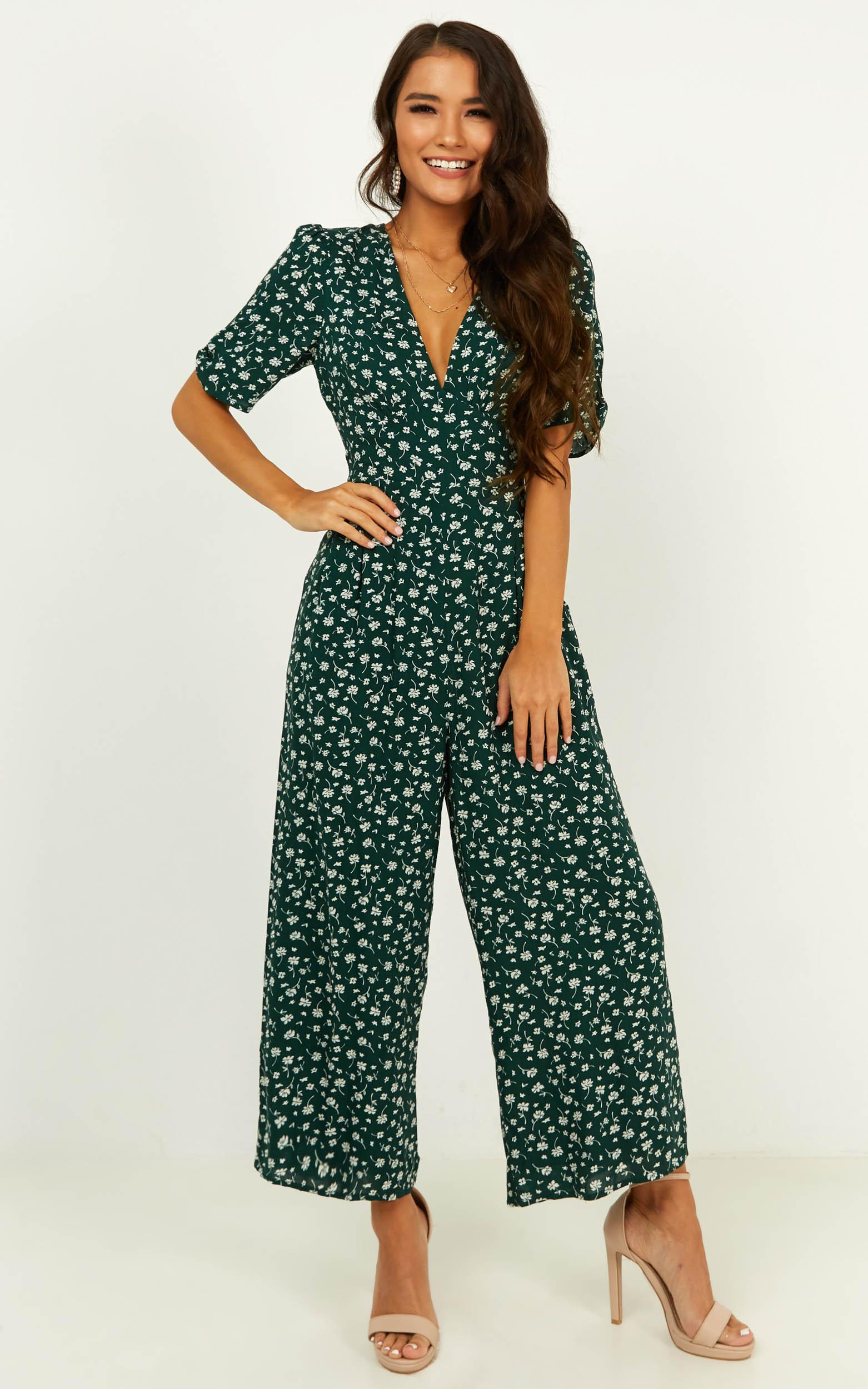 Hit The Lights Jumpsuit in emerald floral - 14 (XL), Green, hi-res image number null