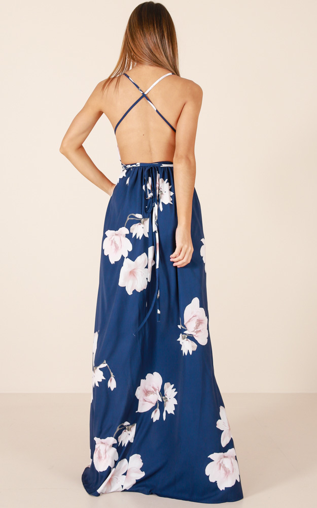 Shine Through maxi dress in navy floral - 14 (XL), Navy, hi-res image number null