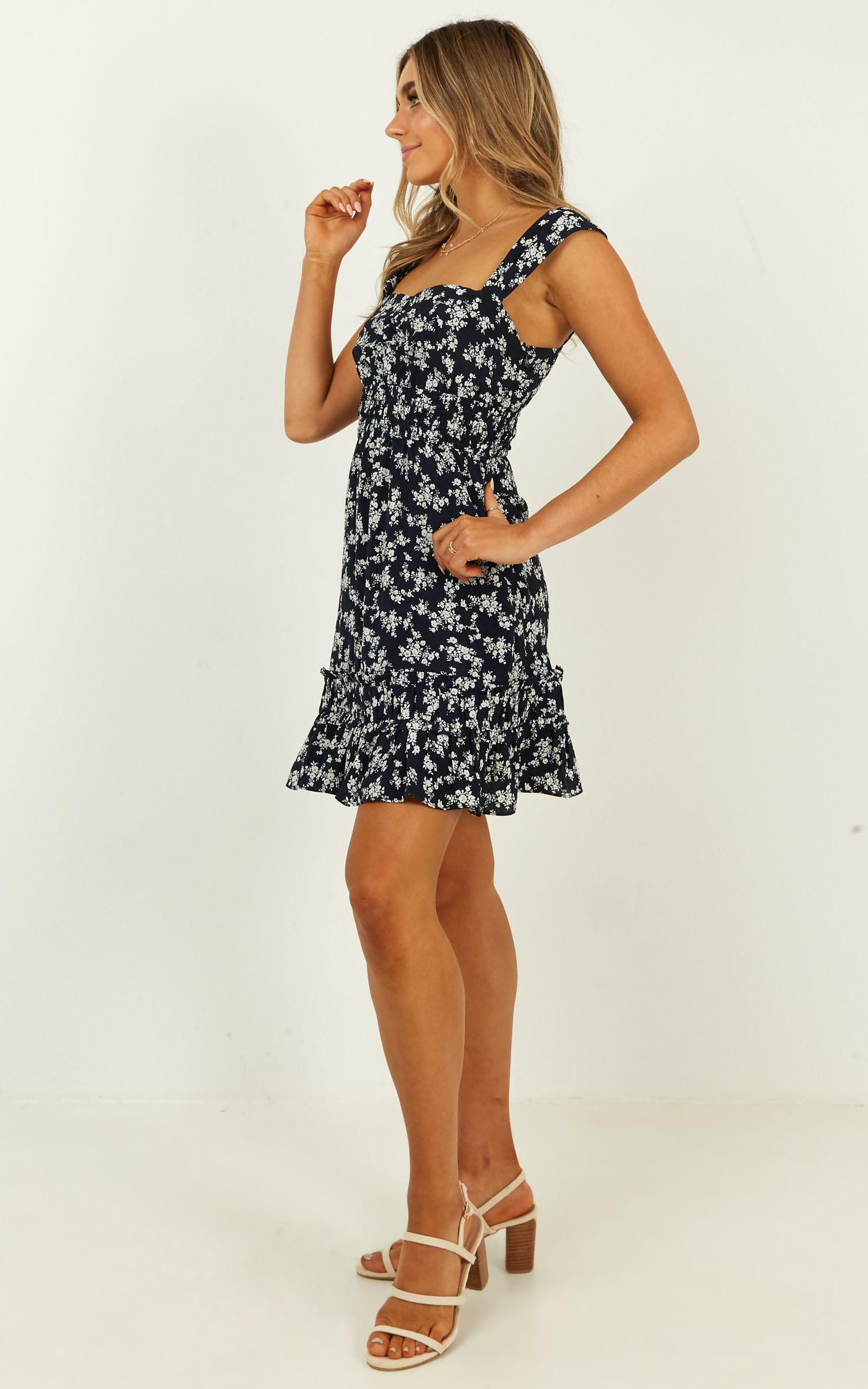 Telling The Truth Dress in navy floral - 20 (XXXXL), Navy, hi-res image number null