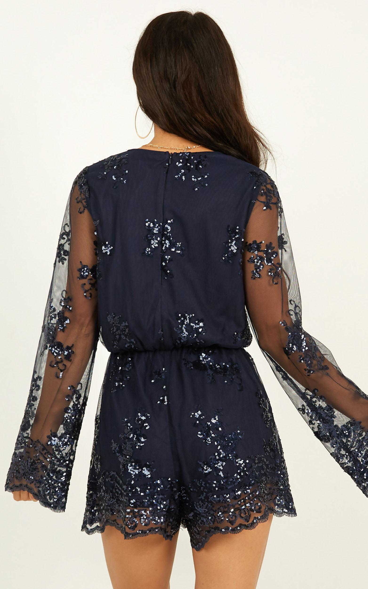 On Call Playsuit in navy sequin - 20 (XXXXL), Navy, hi-res image number null
