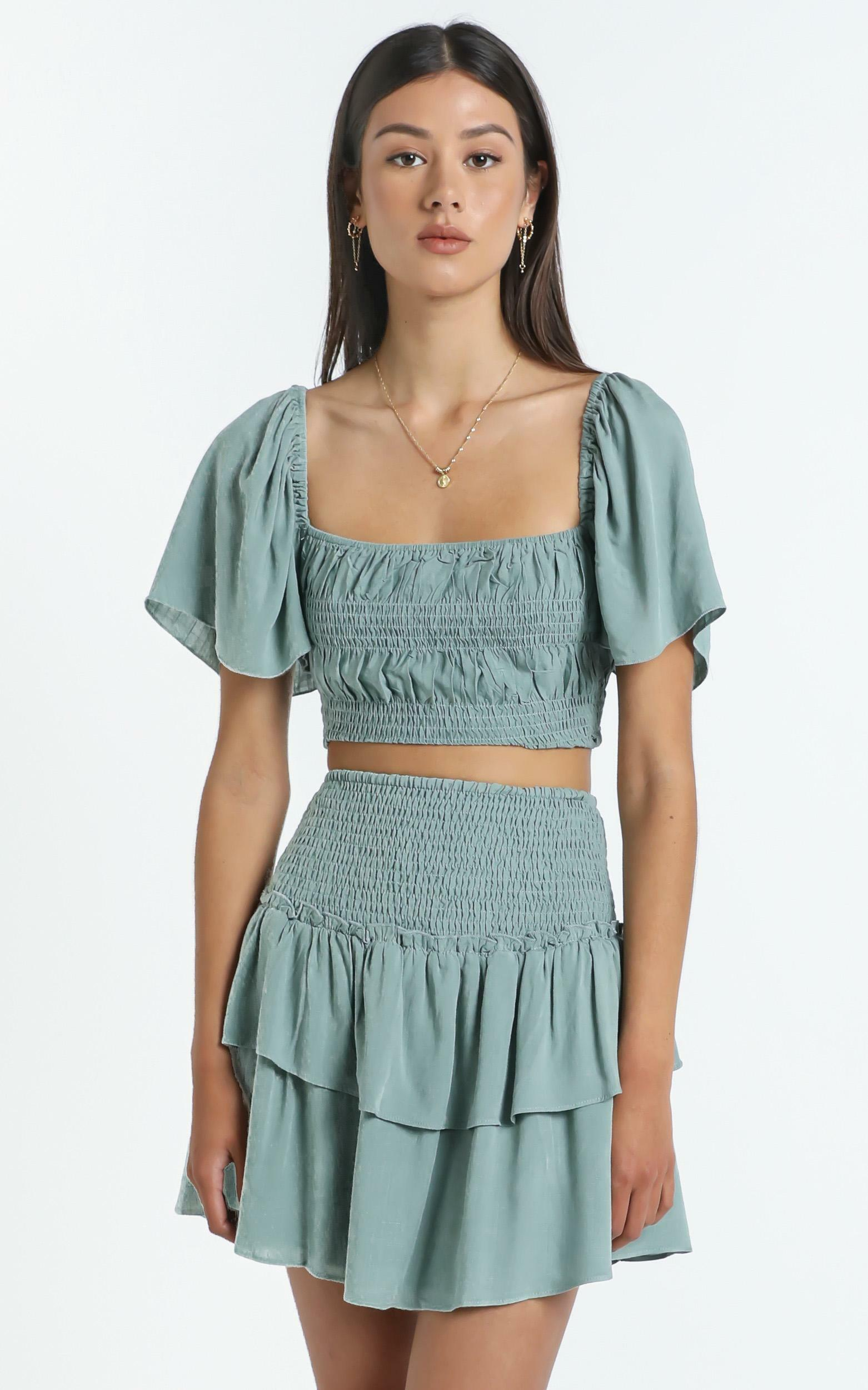 Kloe Skirt in Sage - 14 (XL), Sage, hi-res image number null