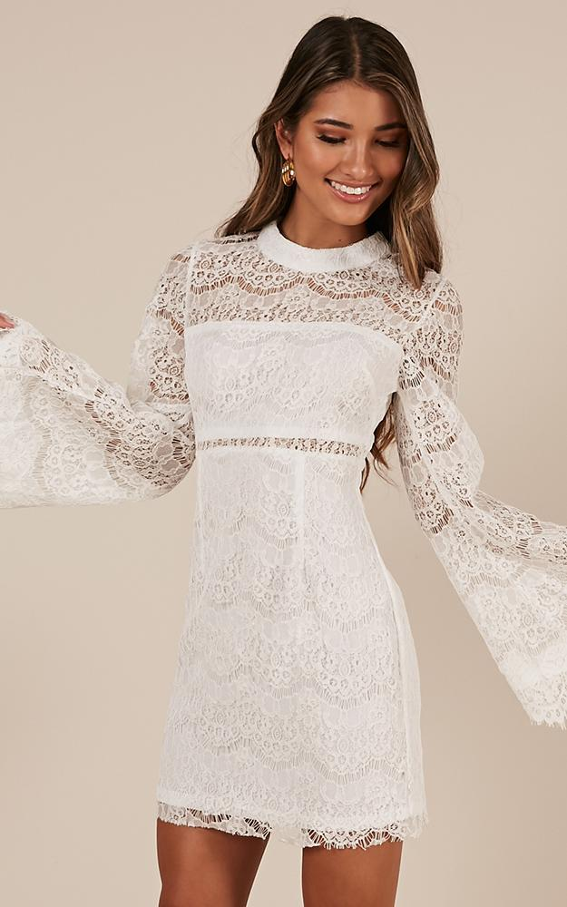 Never Start Dress in white lace, White, hi-res image number null