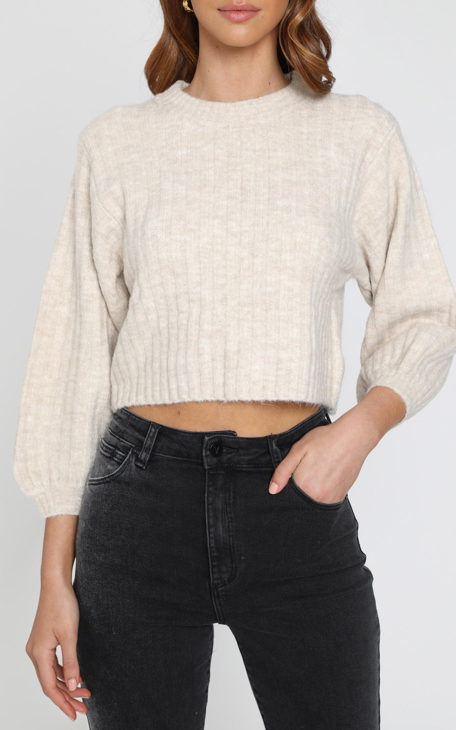Cute and Cosy Knit Jumper in Beige Marl - S/M, Beige, hi-res image number null