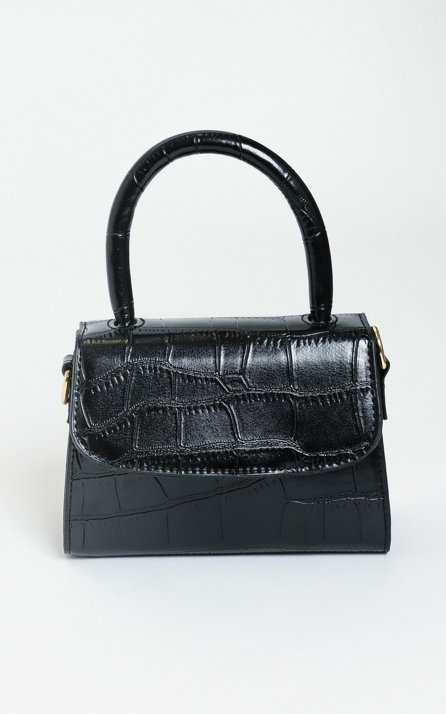 Halfway There bag in black croc, Black, hi-res image number null