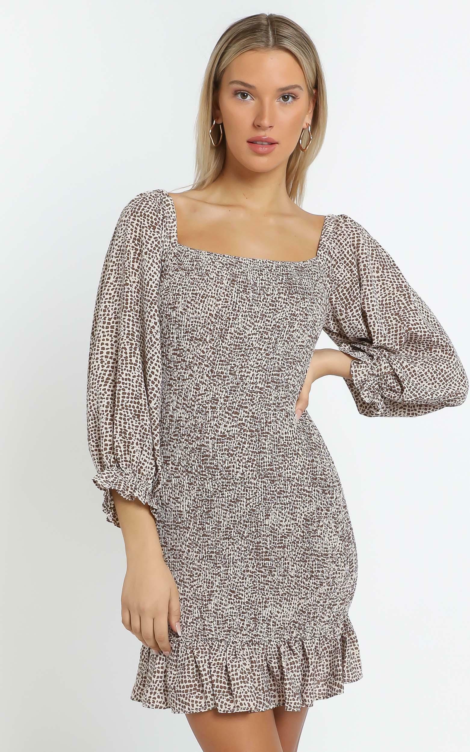 Meg Dress in Choc Spot - 14 (XL), Brown, hi-res image number null
