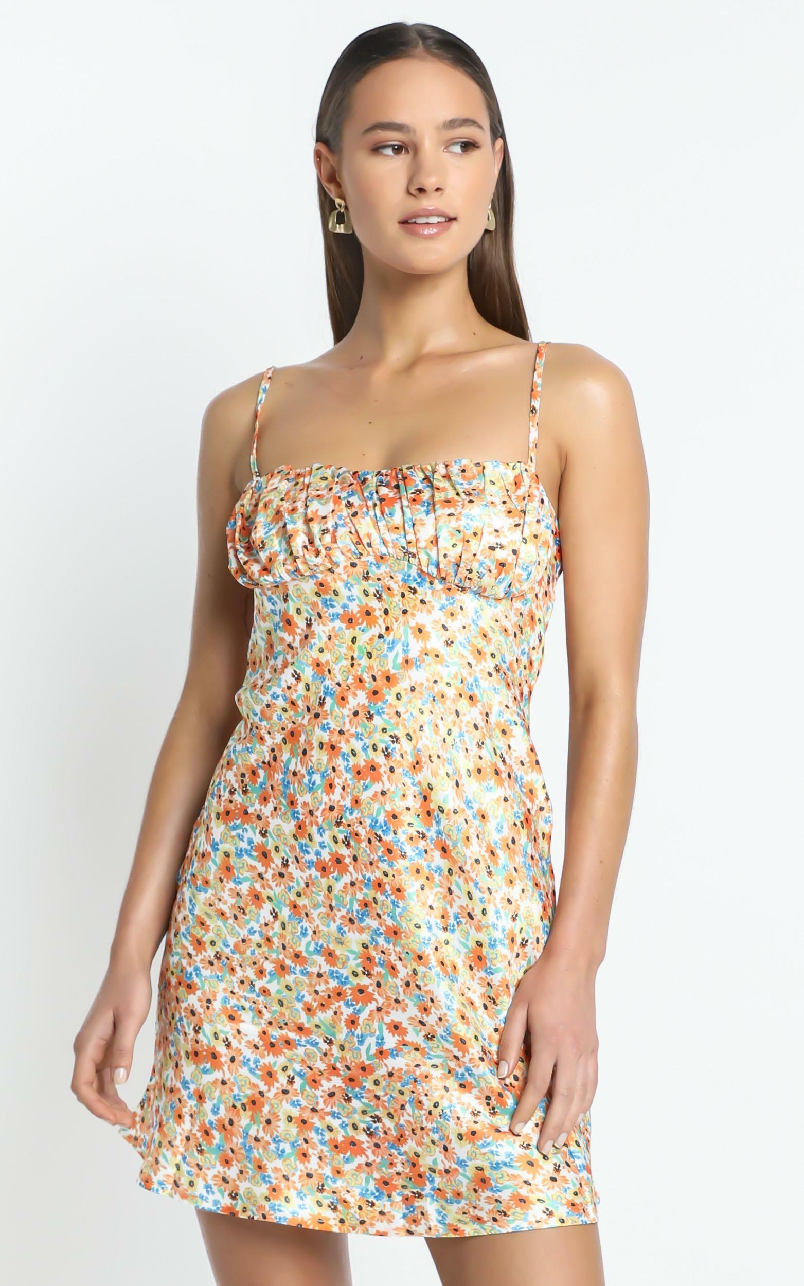 Devra Dress in Orange Floral - 8 (S), Orange, hi-res image number null