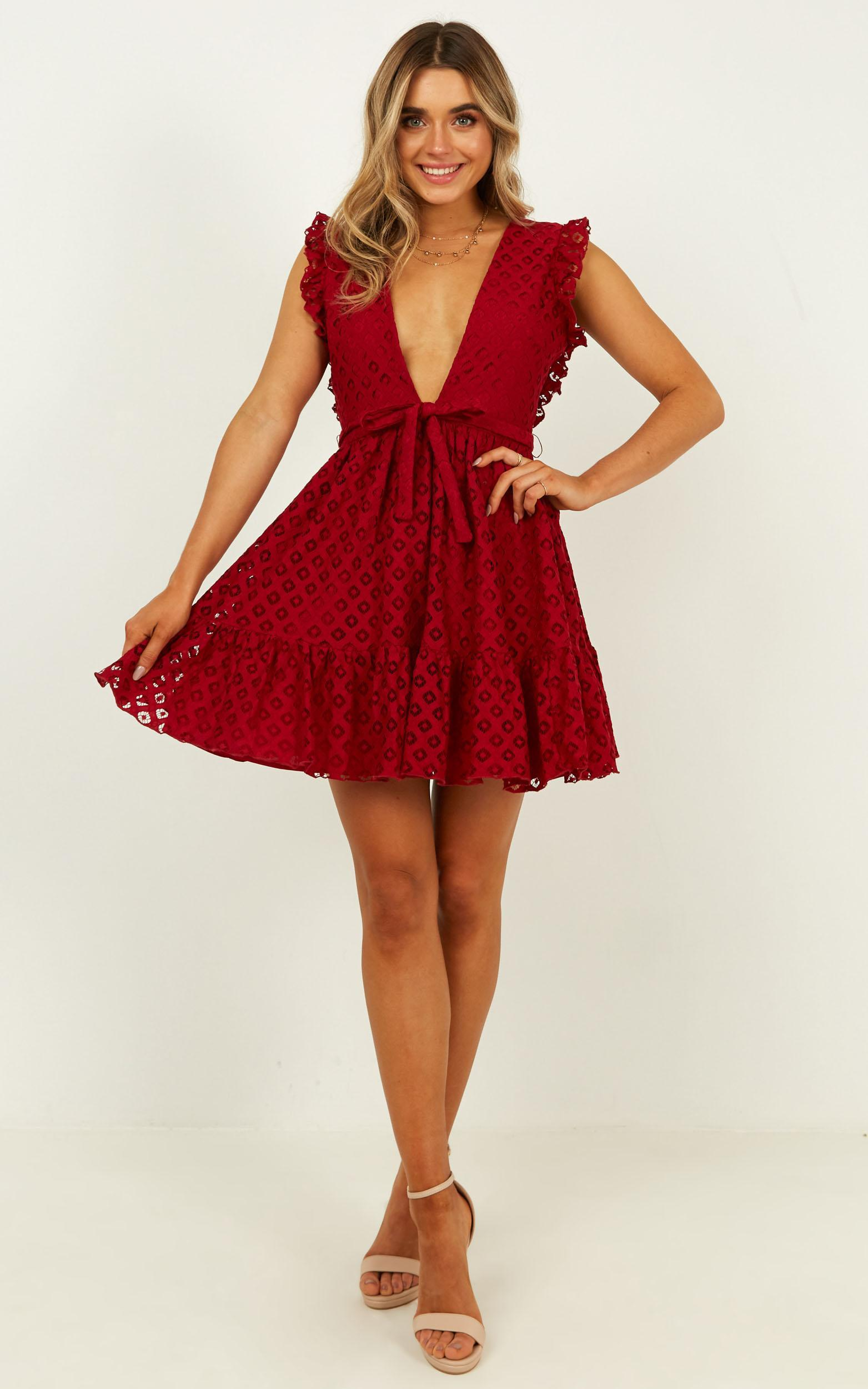 Only Lovers Left Dress In wine lace - 6 (XS), Wine, hi-res image number null