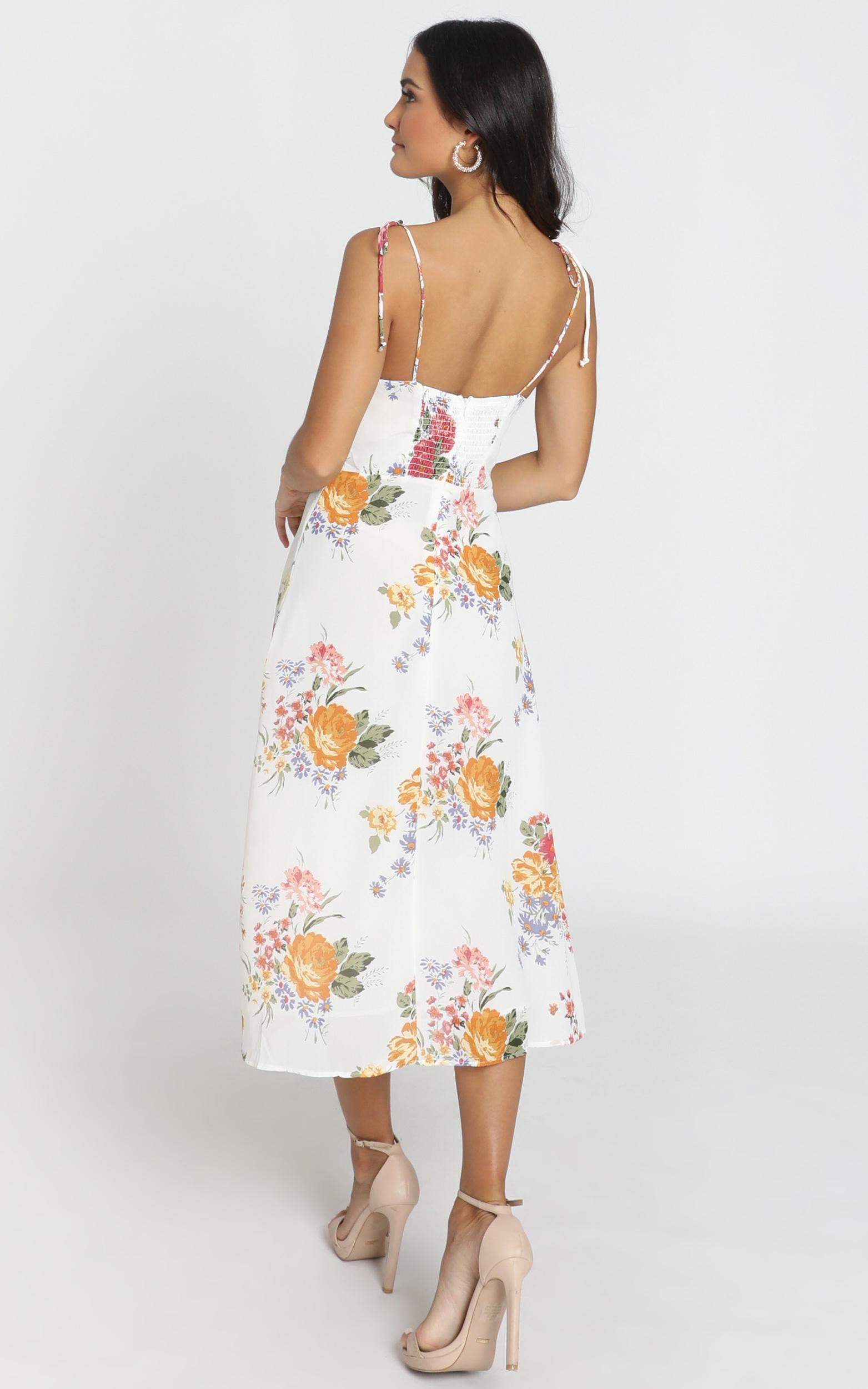 Lacey Panelled Midi Dress in multi floral  - 8 (S), White, hi-res image number null