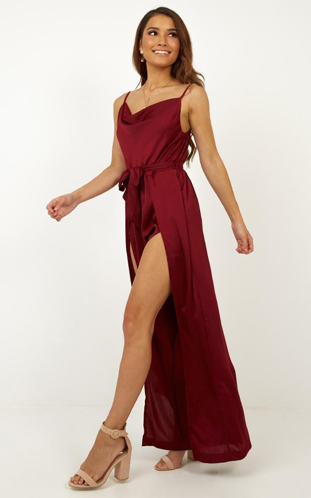 Travel Abroad Jumpsuit in Wine Satin - 12 (L), Wine, hi-res image number null