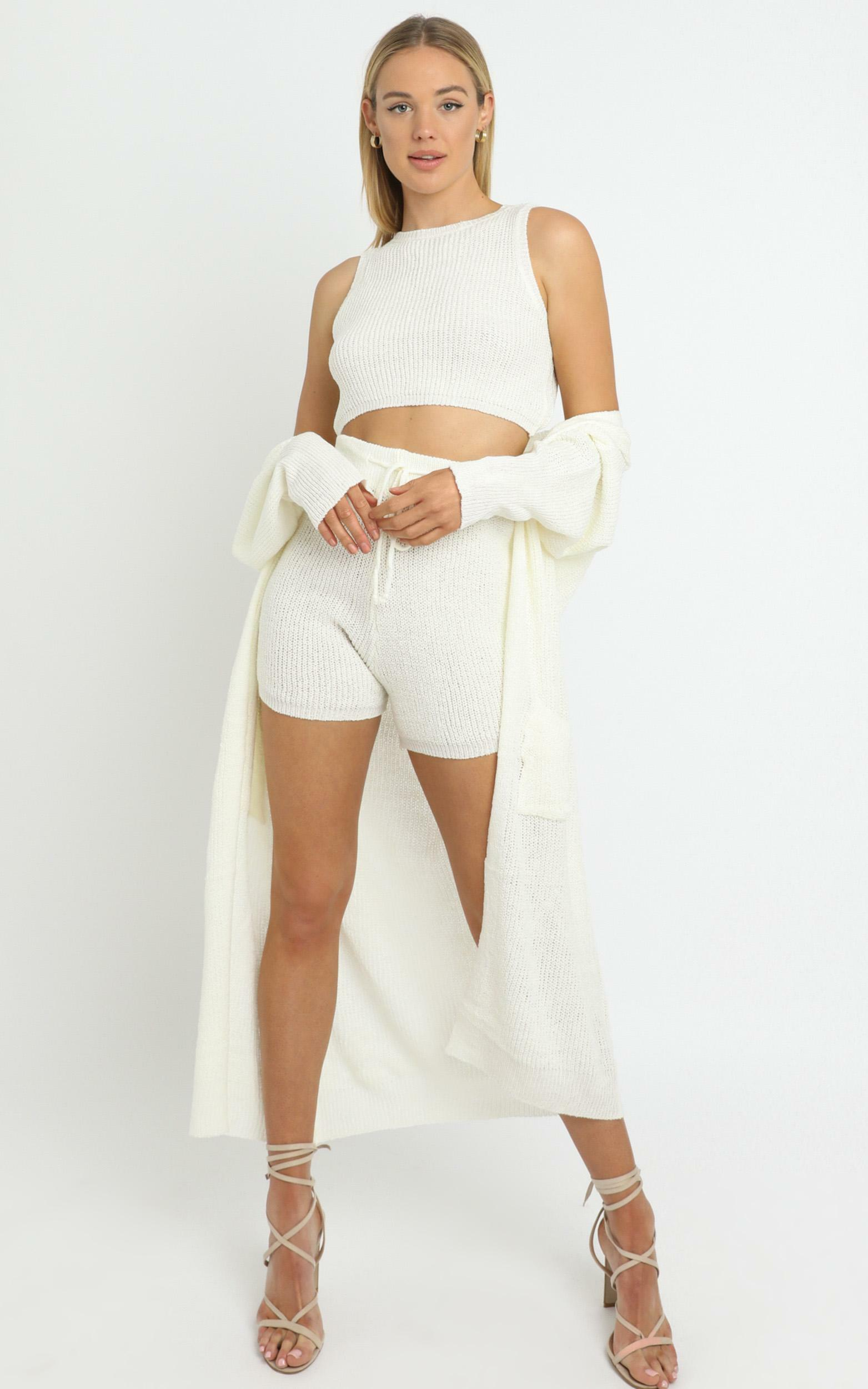 Saffron Knit Three Piece Set White - L/XL, White, hi-res image number null